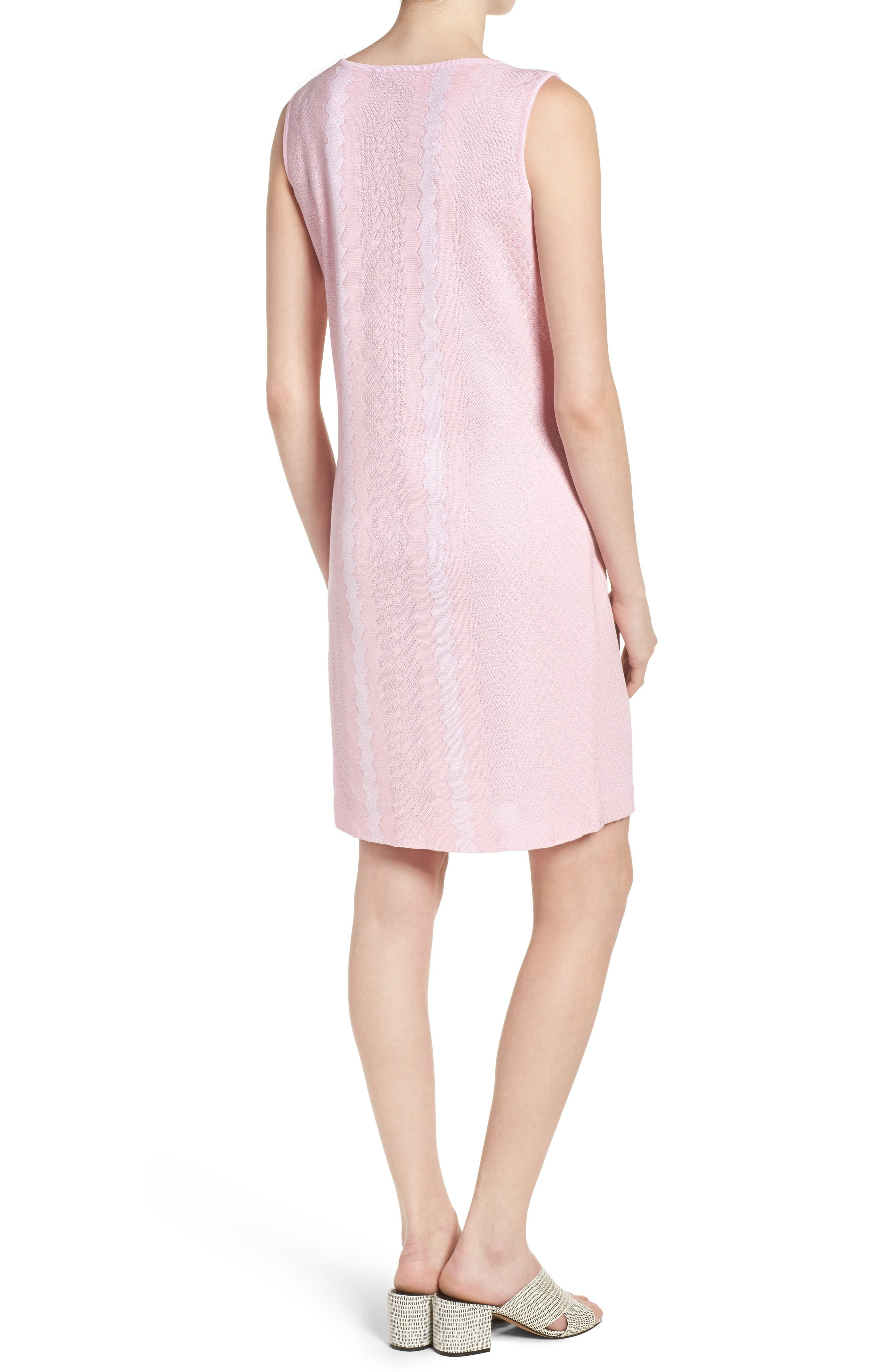 Sleeveless Knit Sheath Dress,                             Alternate thumbnail 2, color,                             Perfect Pink/ White