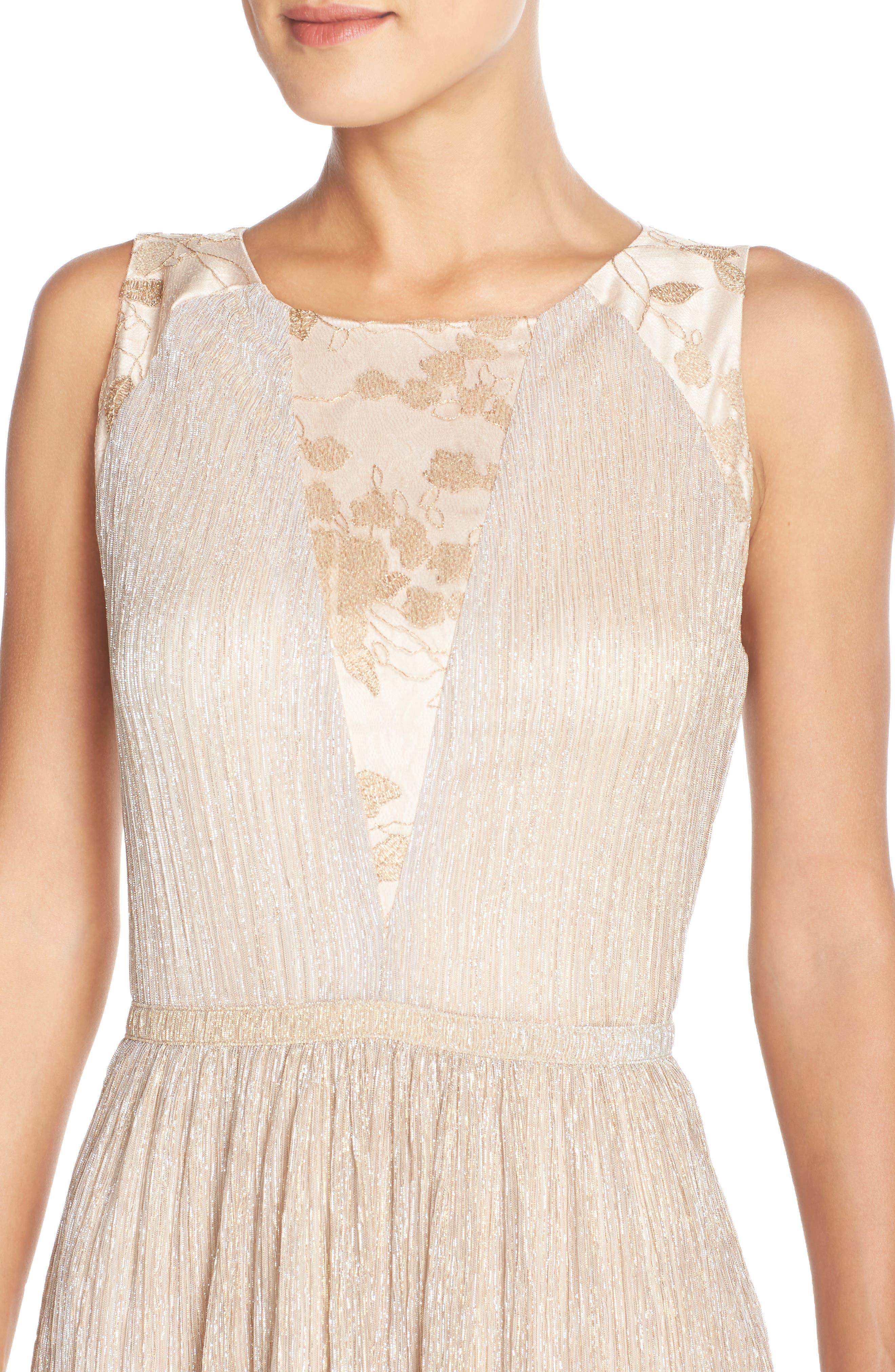 Alternate Image 4  - Tahari Metallic Pleated Midi Dress (Regular & Petite)