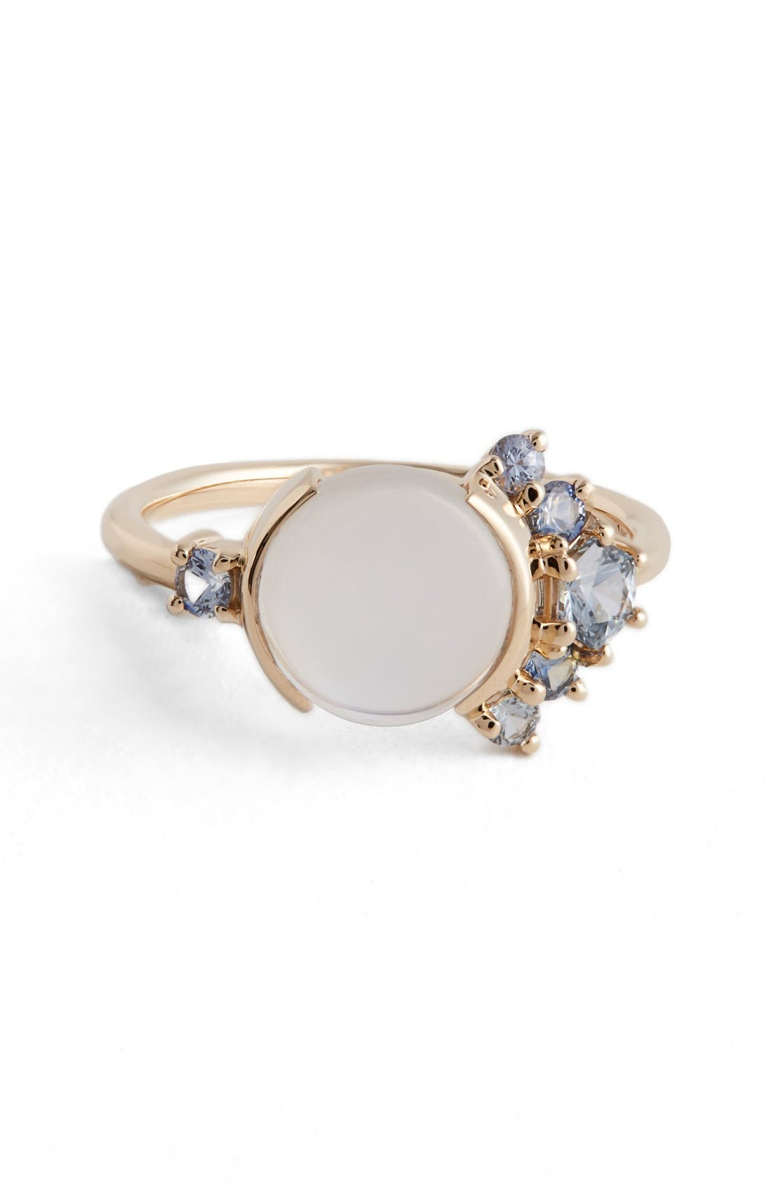 Moonstone & Sapphire Ring,                         Main,                         color, Yellow White