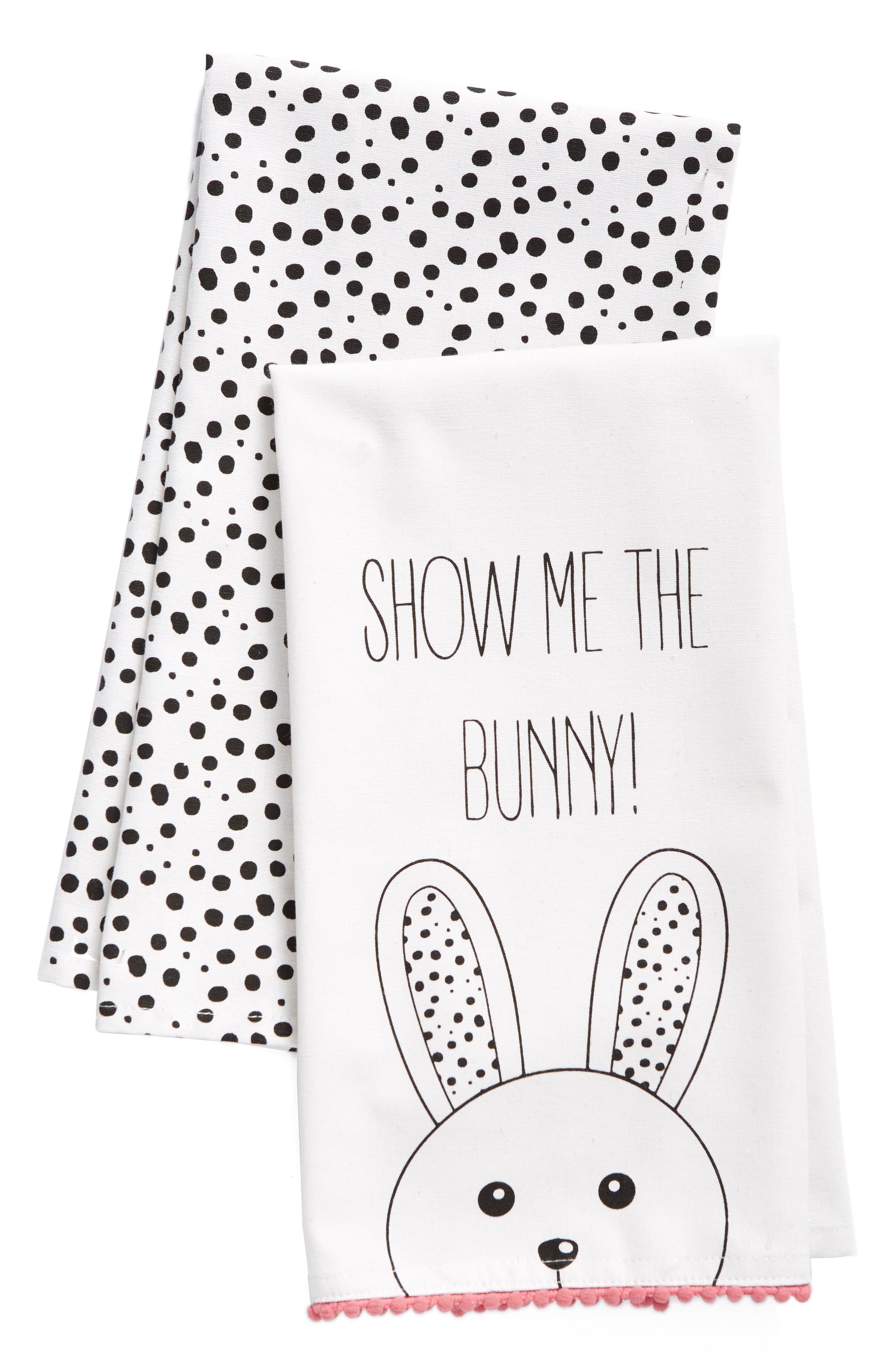 Show Me The Bunny Set of 2 Dish Towels,                             Main thumbnail 1, color,                             White/ Multi