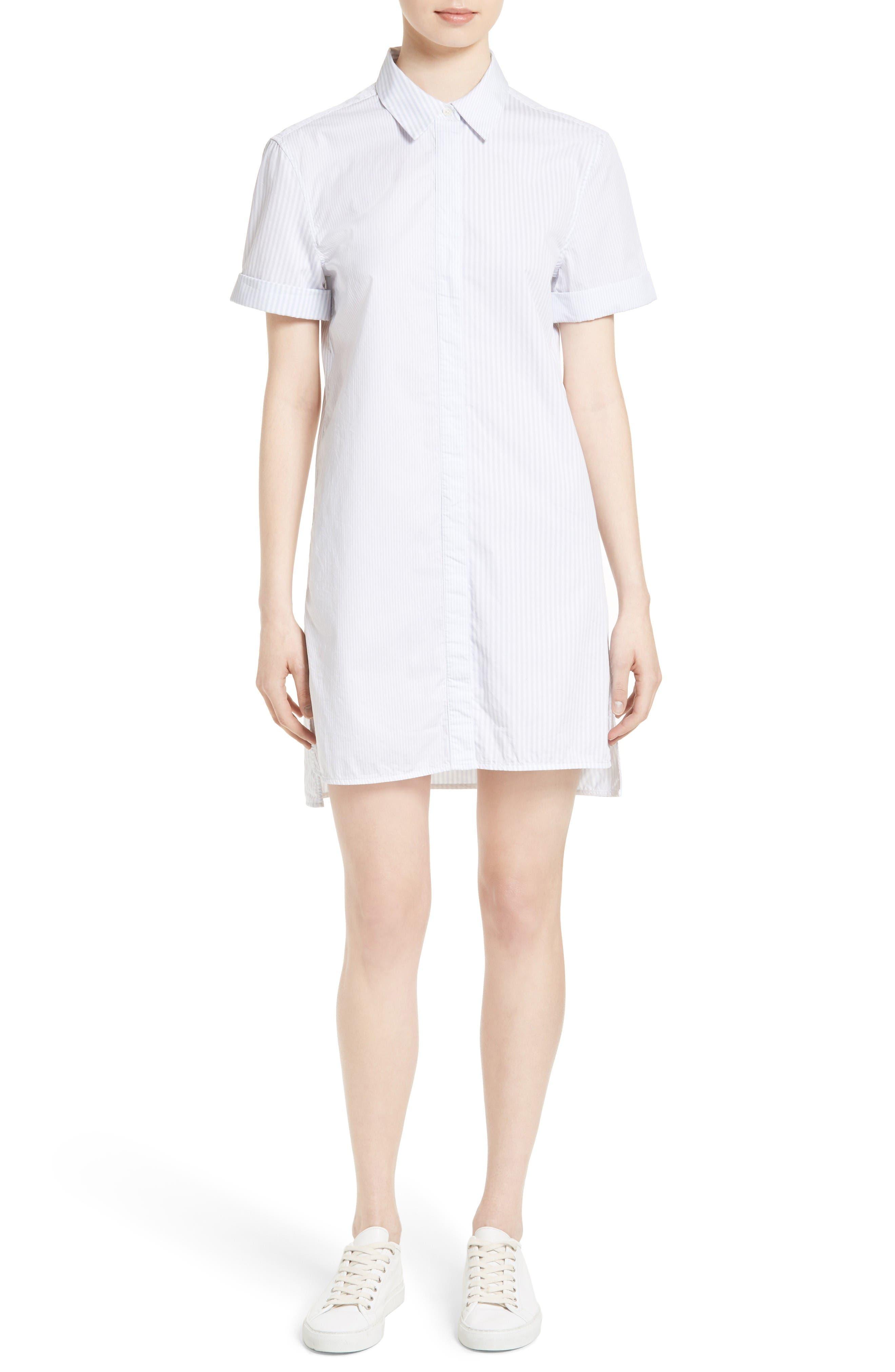 Mirelle Stripe Cotton Shirtdress,                             Main thumbnail 1, color,                             Bt Wht-Bri