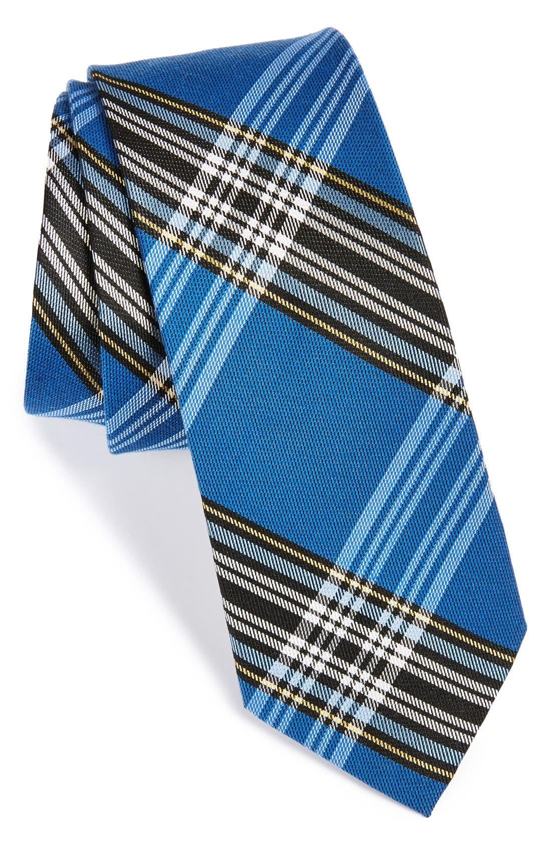 'Delores' Plaid Silk & Cotton Tie,                         Main,                         color, Navy