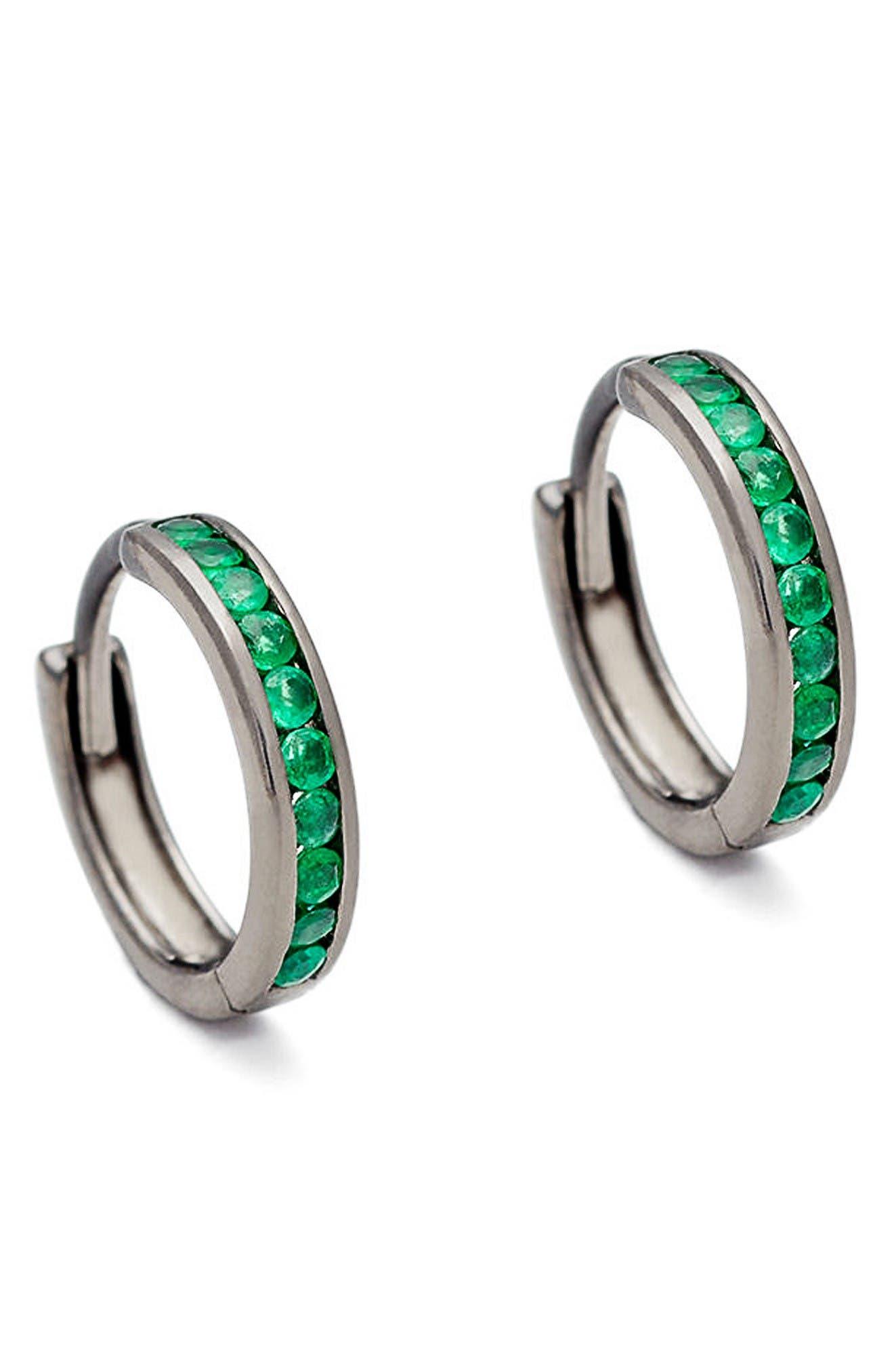Licol Emerald Hoop Earrings,                         Main,                         color, Silver Green