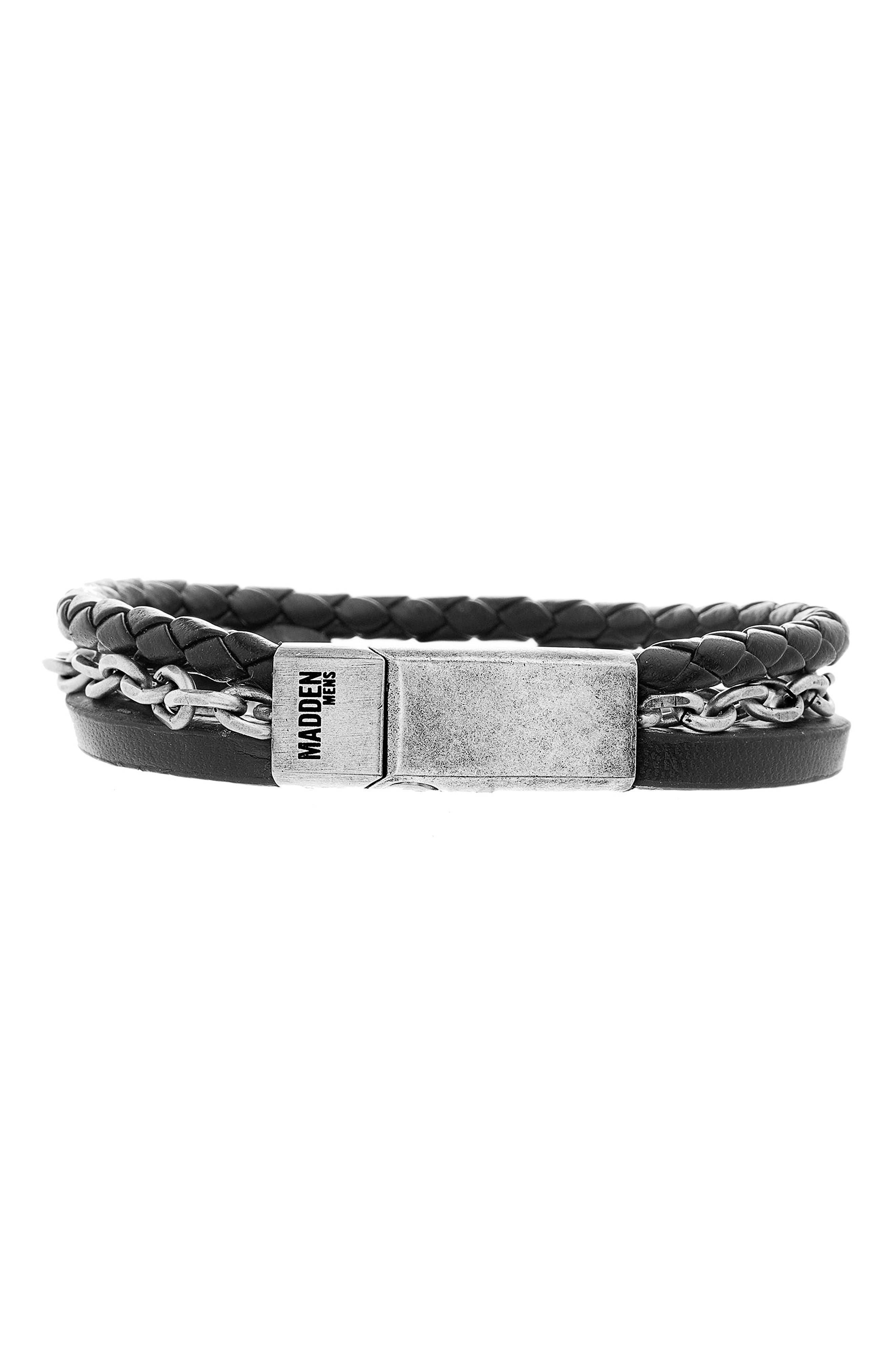 Steve Madden Braided Leather Chain Bracelet