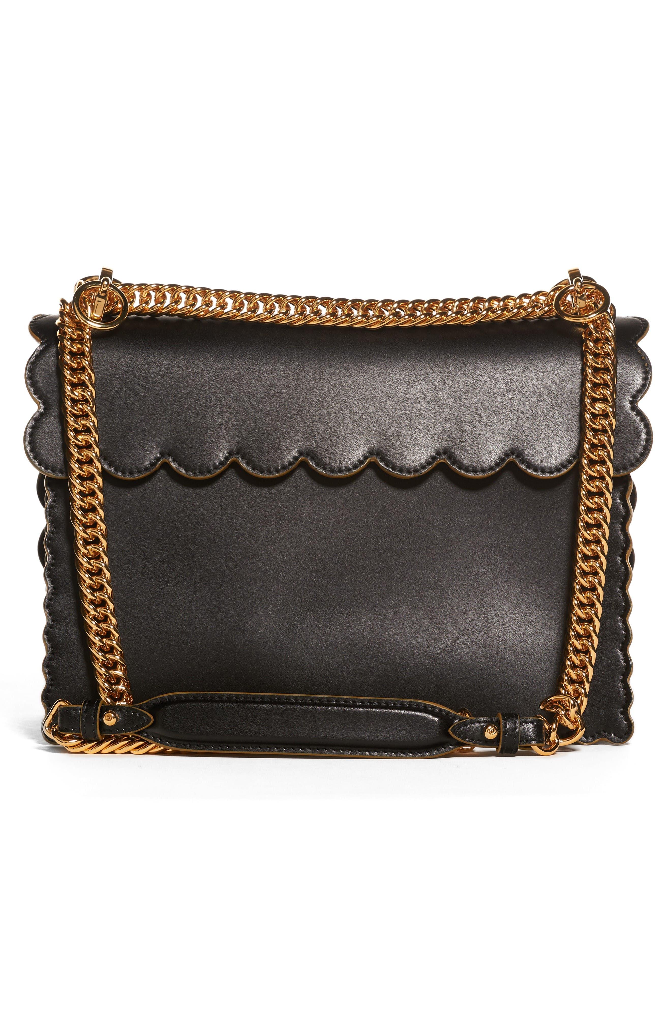 Kan I Scallop Leather Shoulder Bag,                             Alternate thumbnail 2, color,                             Black
