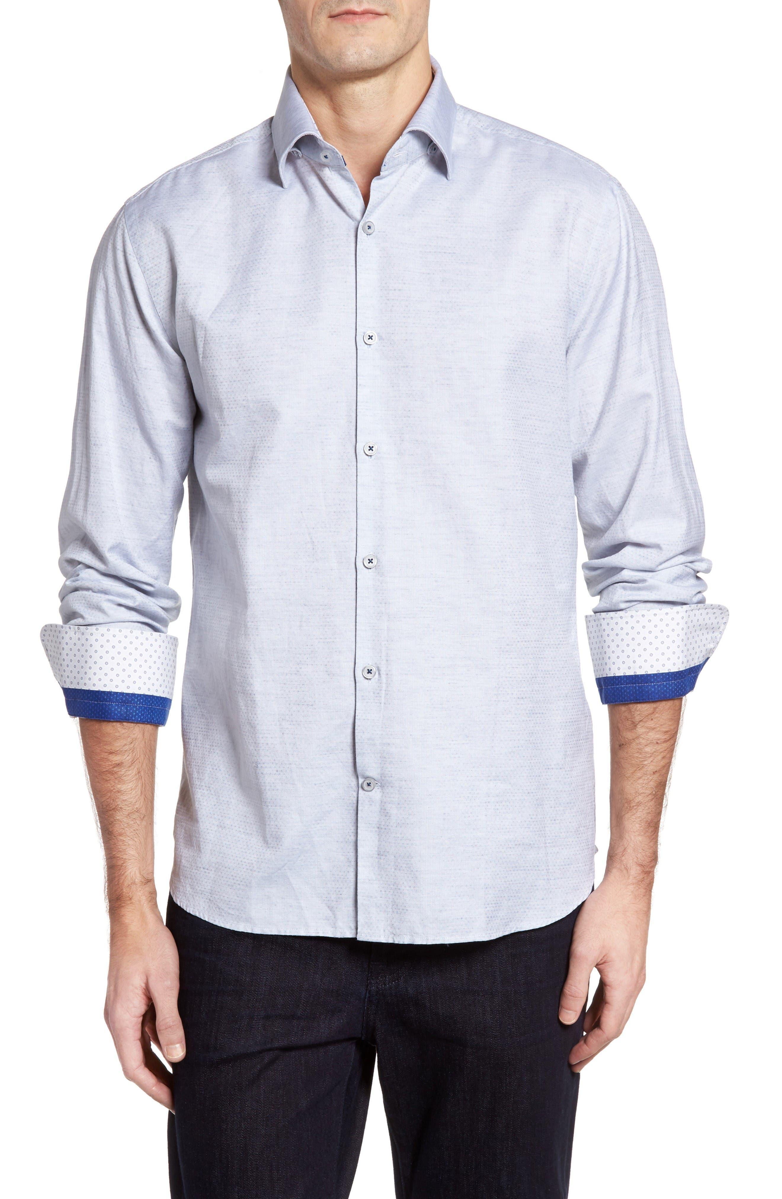 Alternate Image 1 Selected - Stone Rose Dobby Cotton & Linen Sport Shirt