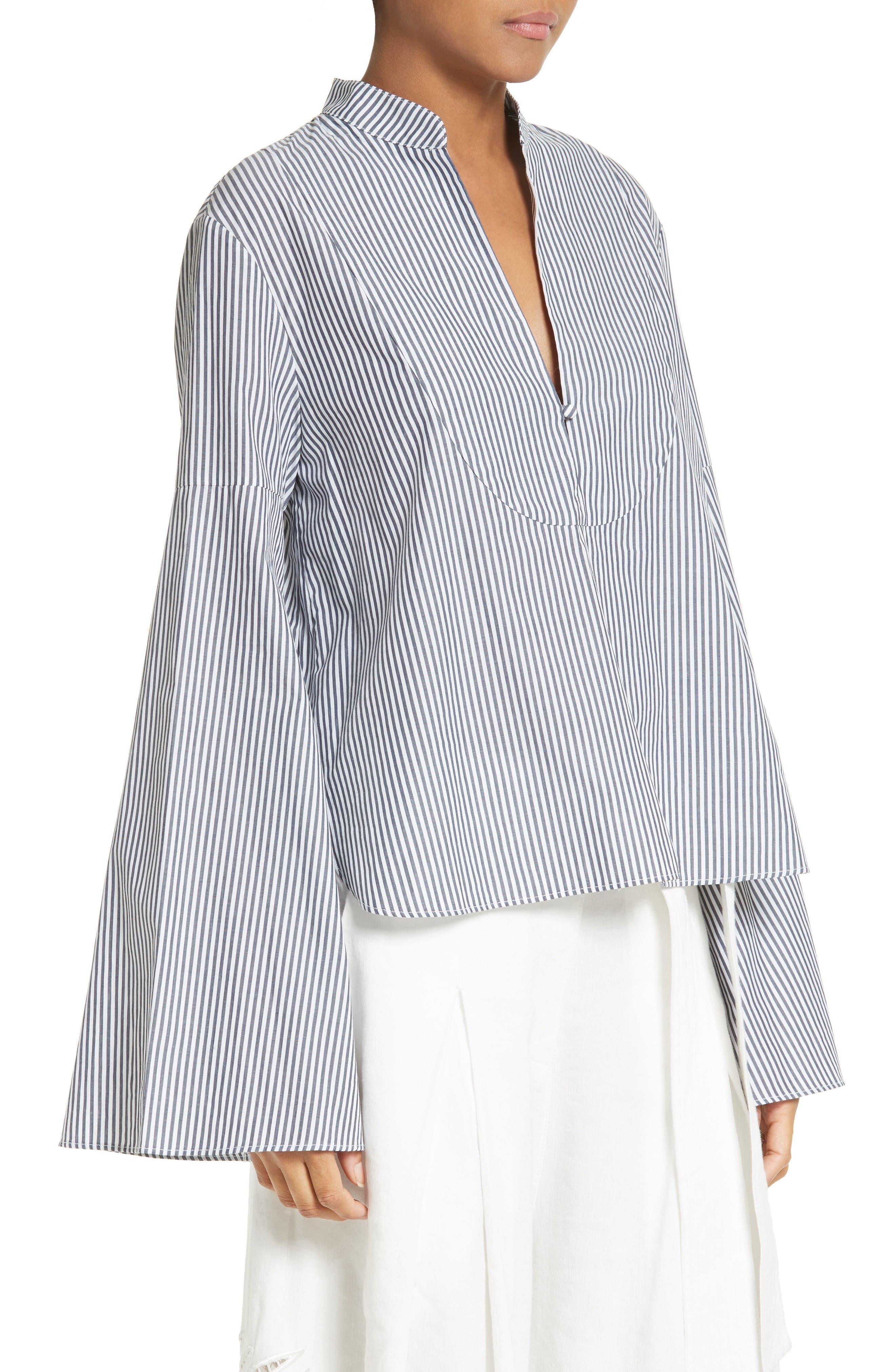 Alternate Image 4  - Tanya Taylor Klara Stripe Bell Sleeve Top