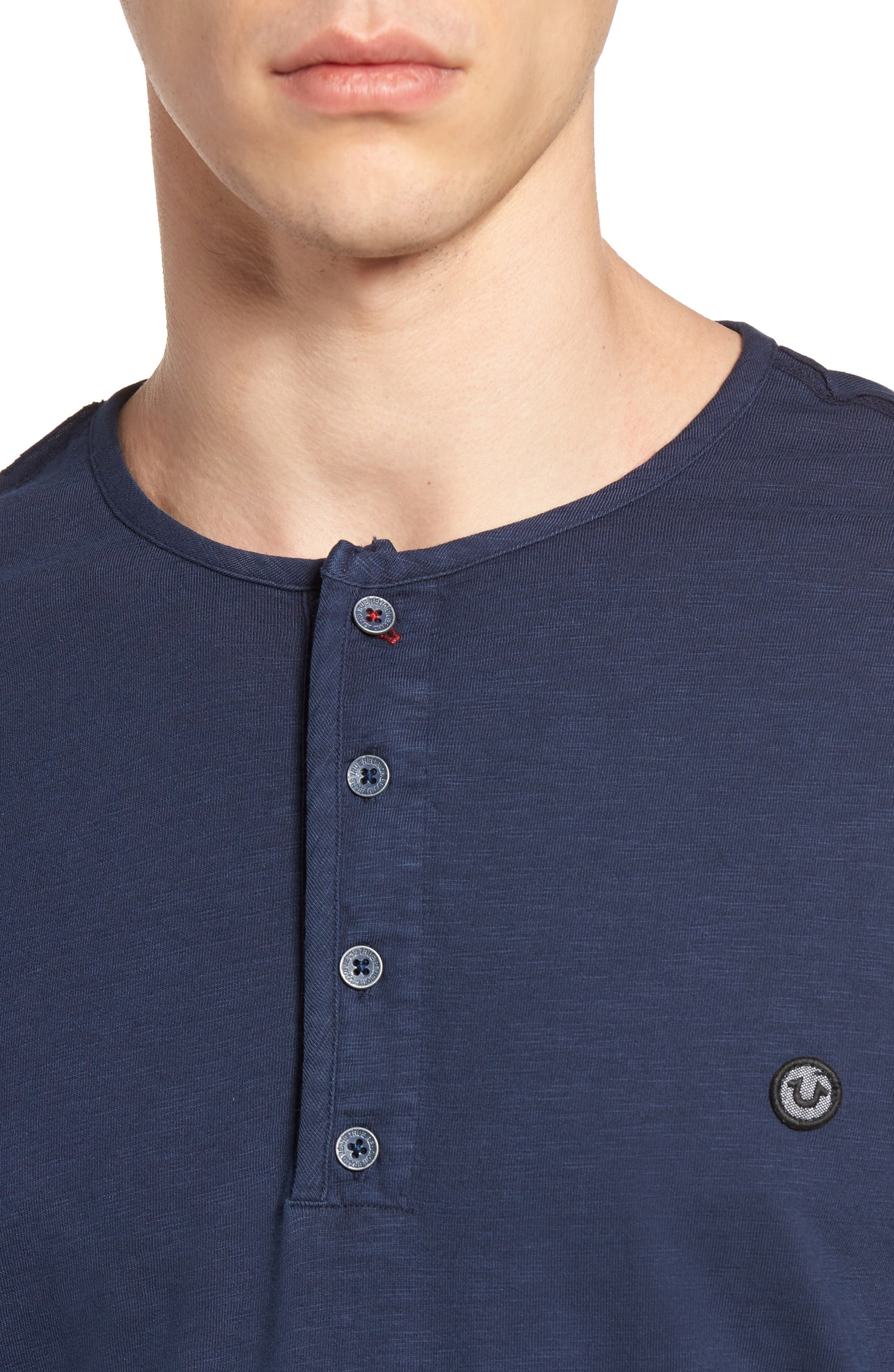 Alternate Image 4  - True Religion Brand Jeans Raw Edge Henley