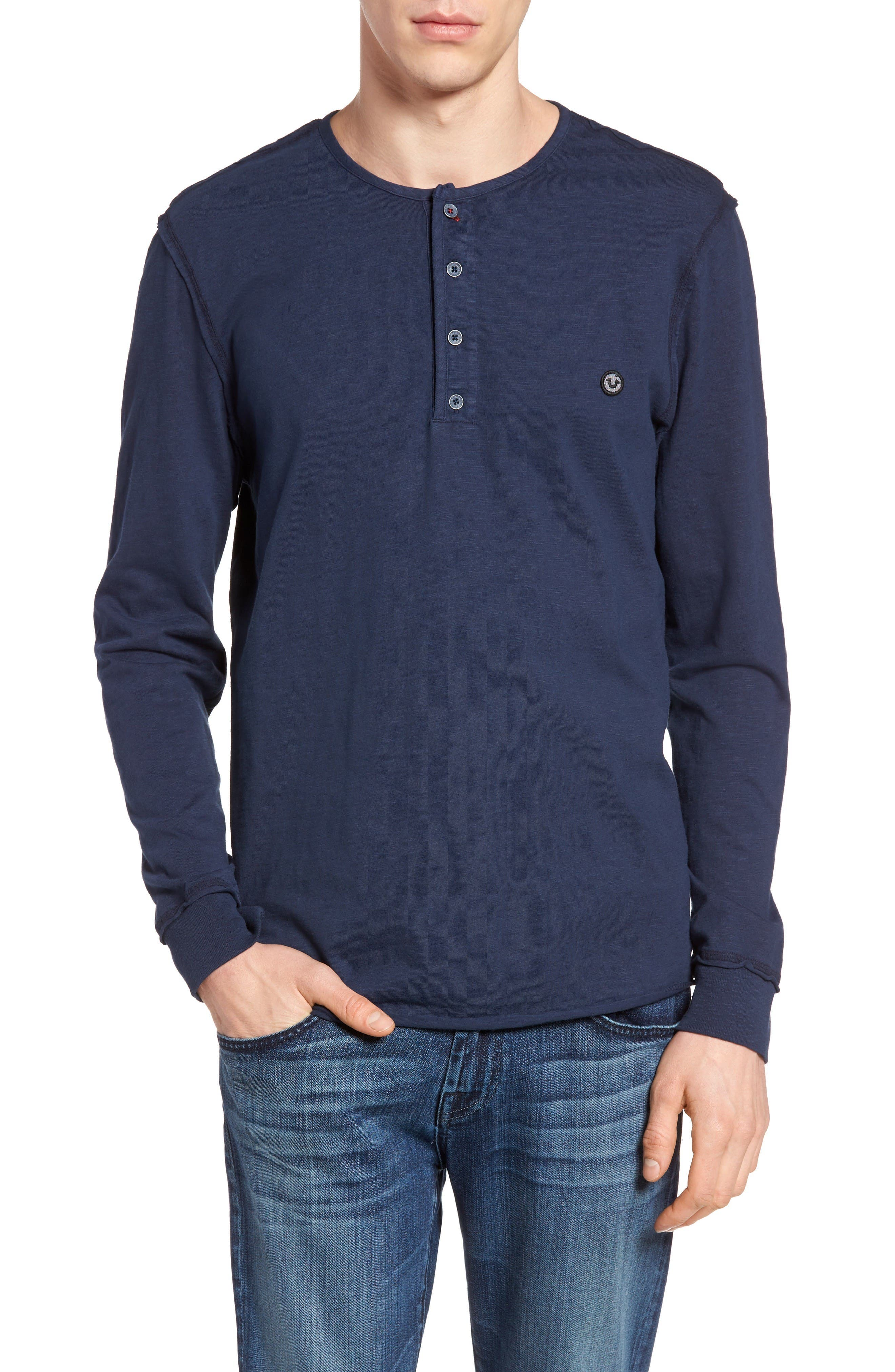 Alternate Image 1 Selected - True Religion Brand Jeans Raw Edge Henley