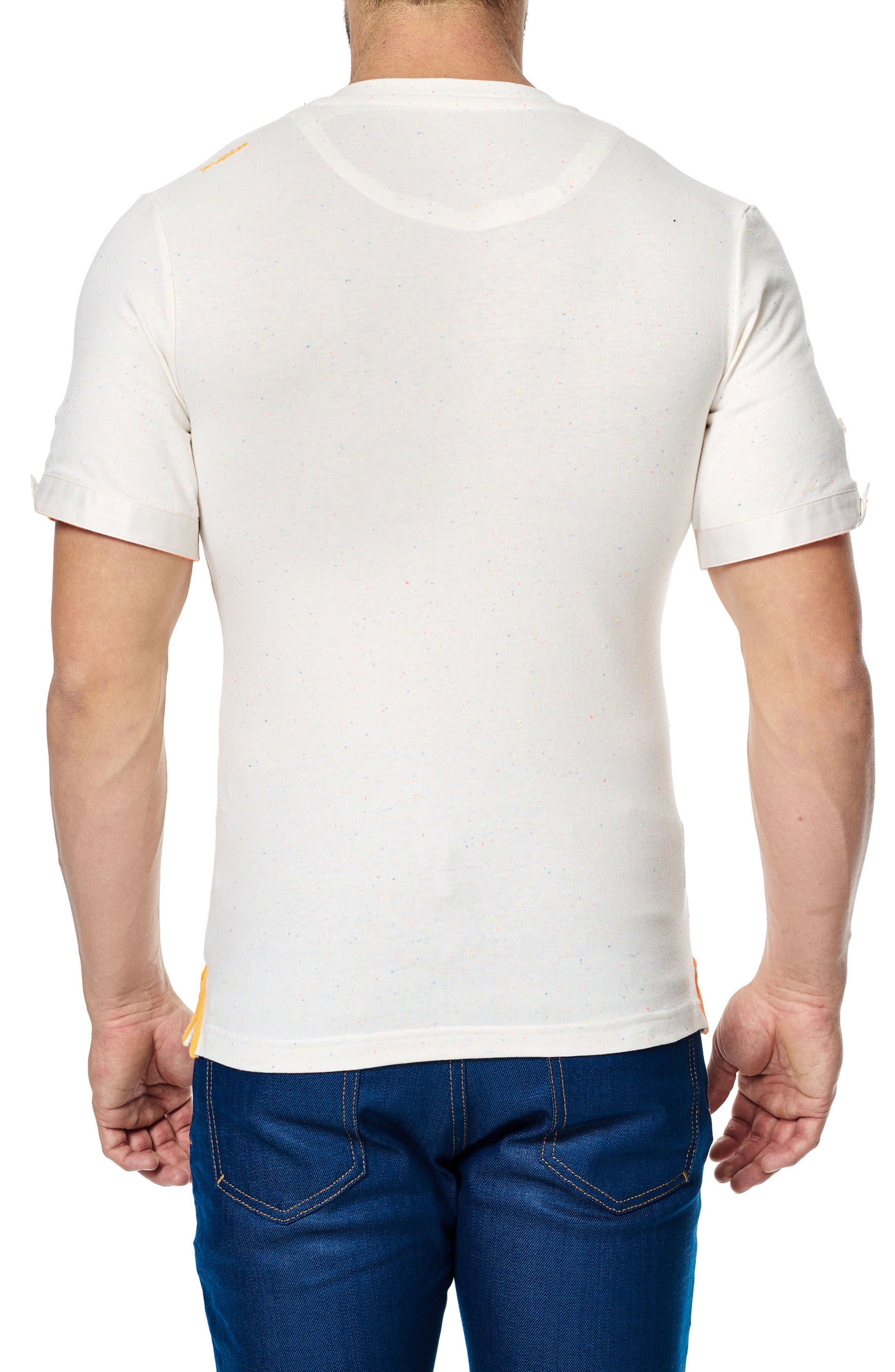 V-Neck Stretch T-Shirt,                             Alternate thumbnail 2, color,                             Solid White