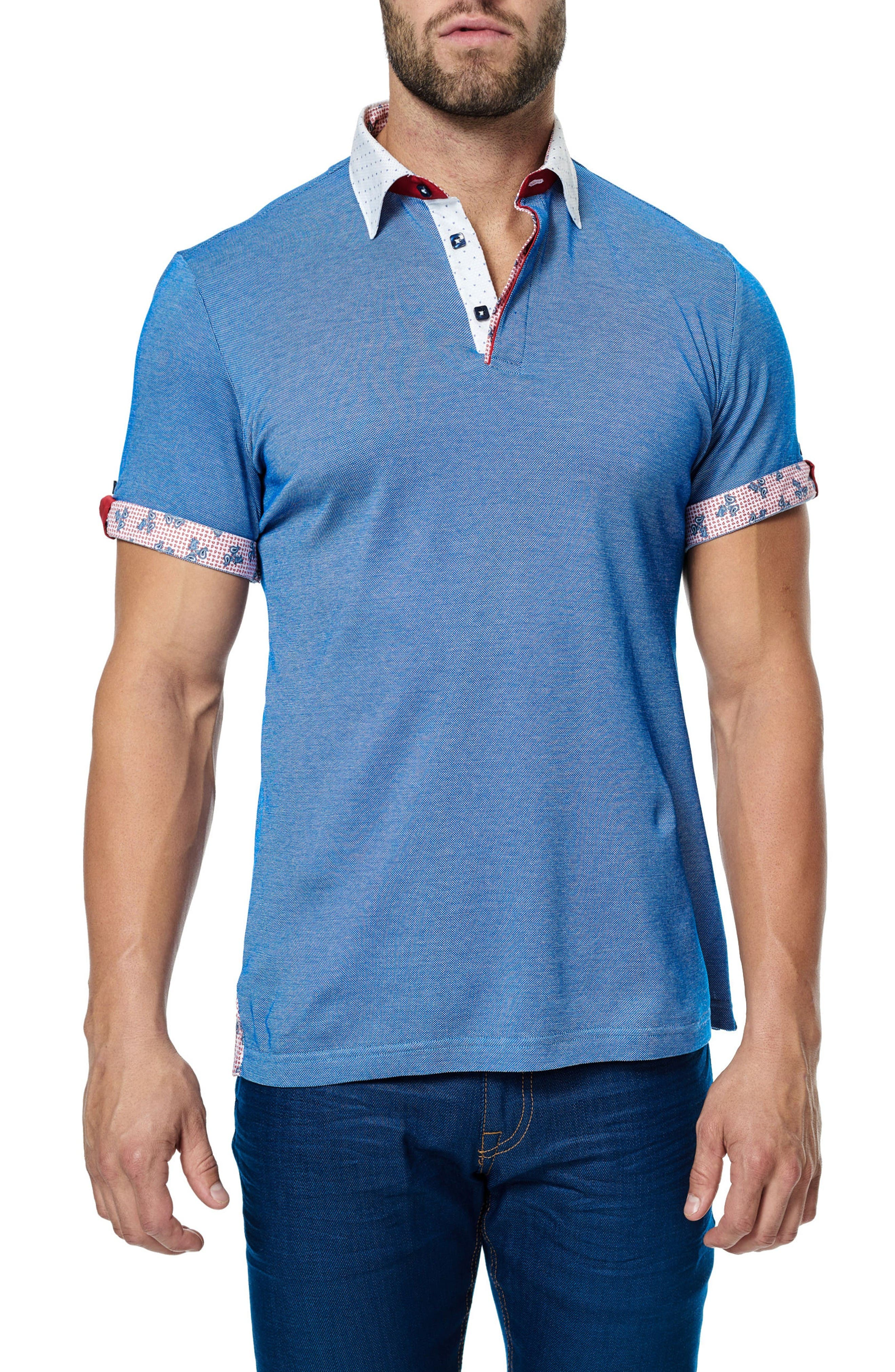 Paisley Trim Polo,                             Alternate thumbnail 3, color,                             Royal Blue