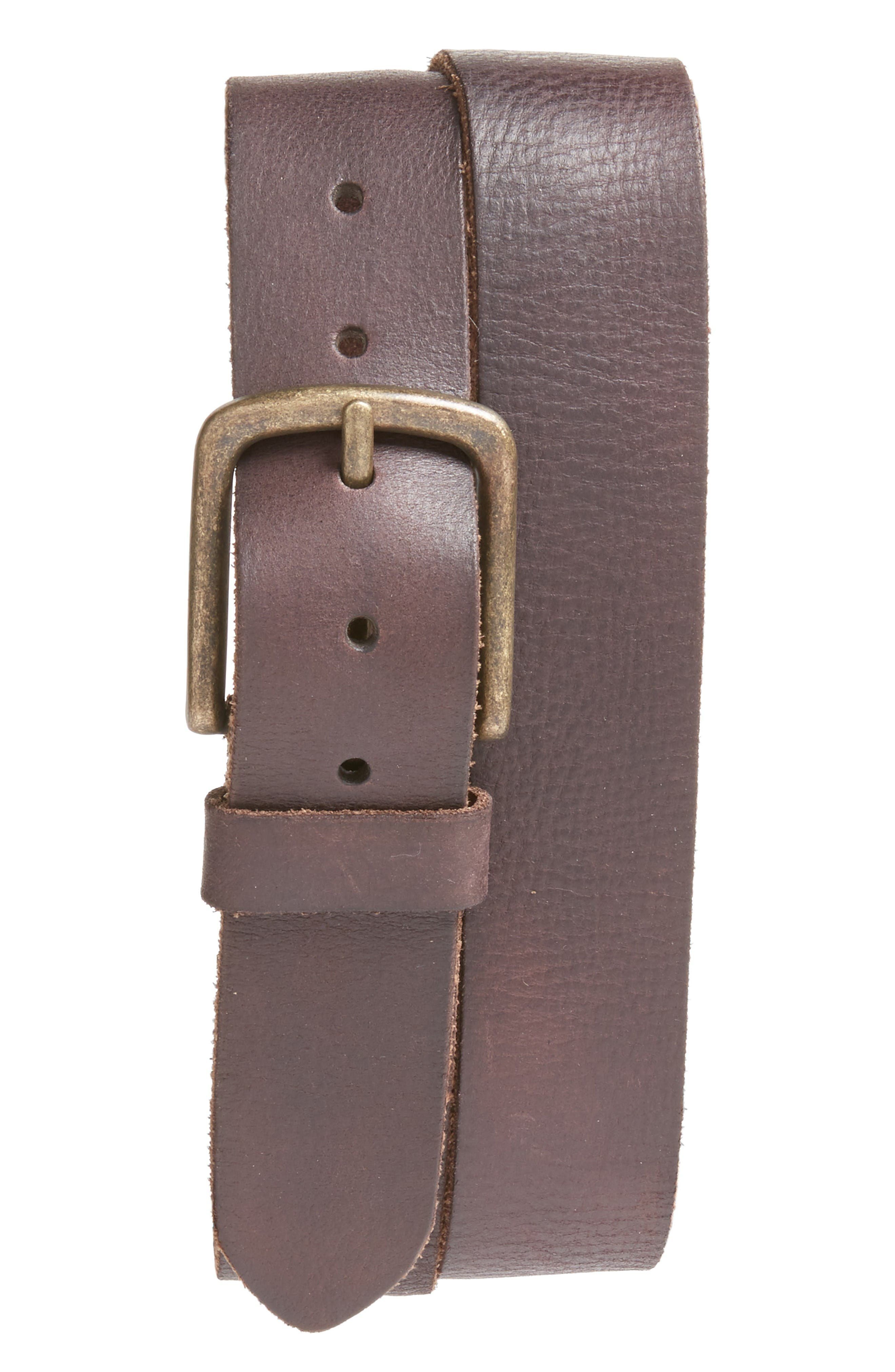 Leather Belt,                             Main thumbnail 1, color,                             Chocolate