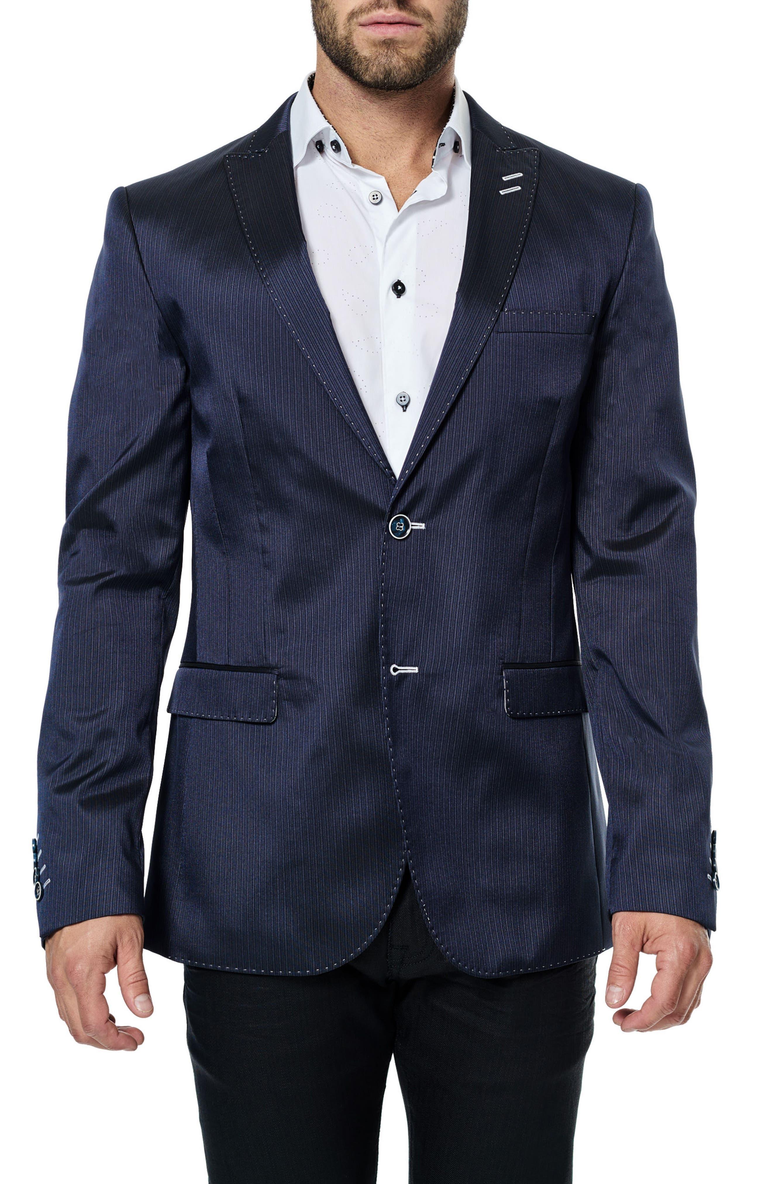 Descartes Stripe Sport Coat,                             Main thumbnail 1, color,                             Navy Blue