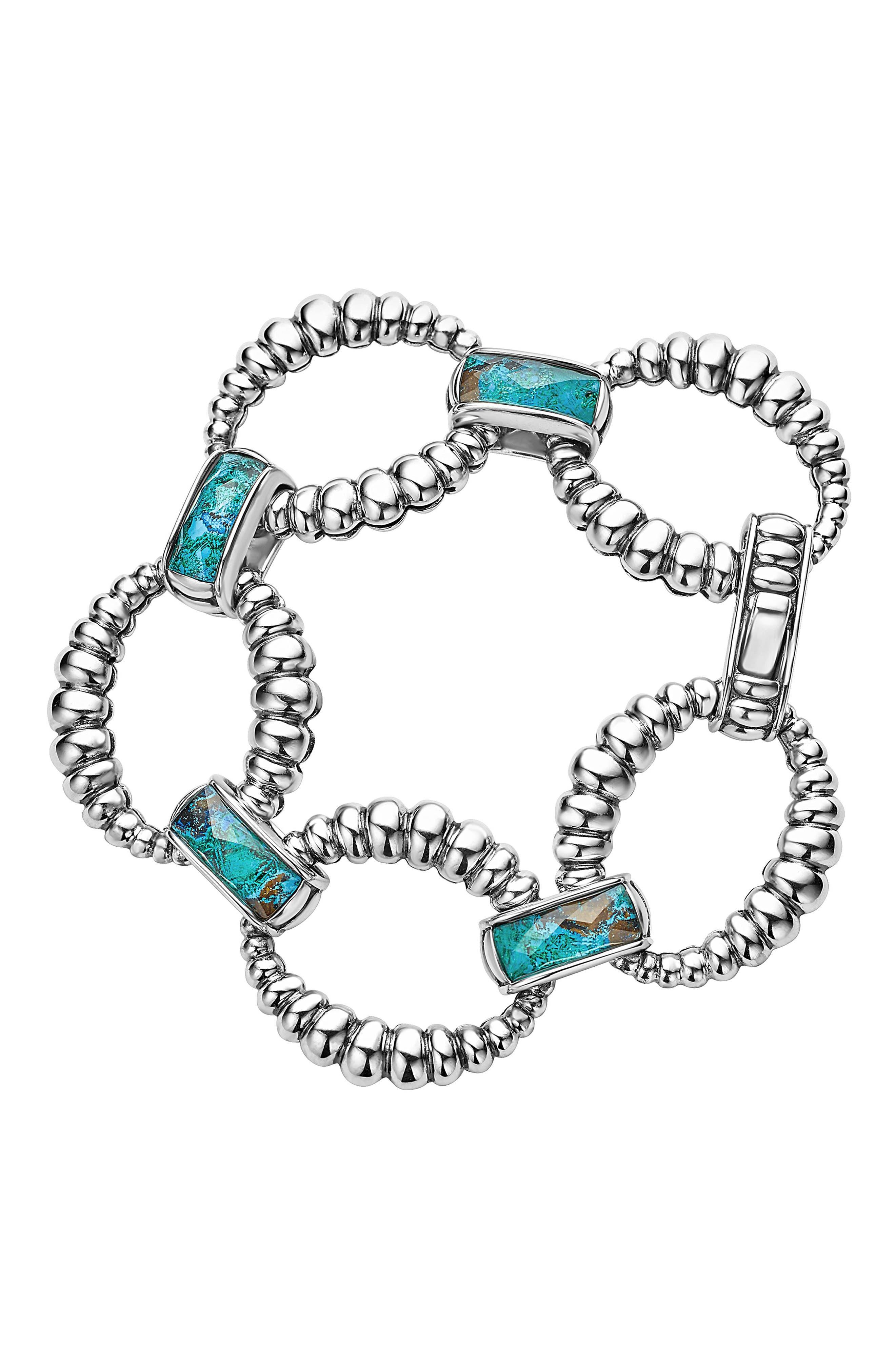 Maya Fluted Link Bracelet,                             Main thumbnail 1, color,                             Chrysocolla