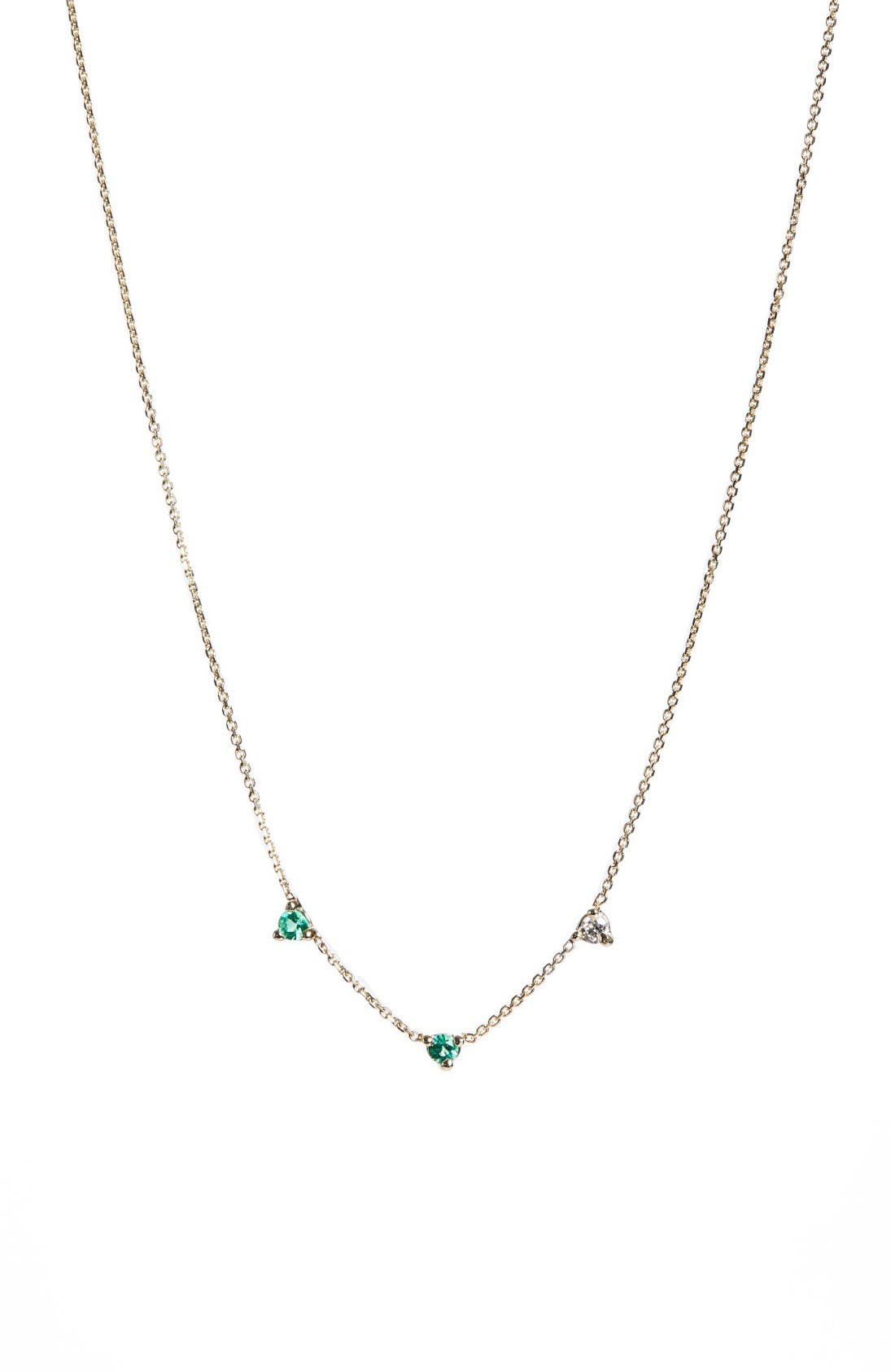 WWAKE Counting Collection Three-Step Emerald & Diamond Necklace (Nordstrom Exclusive)