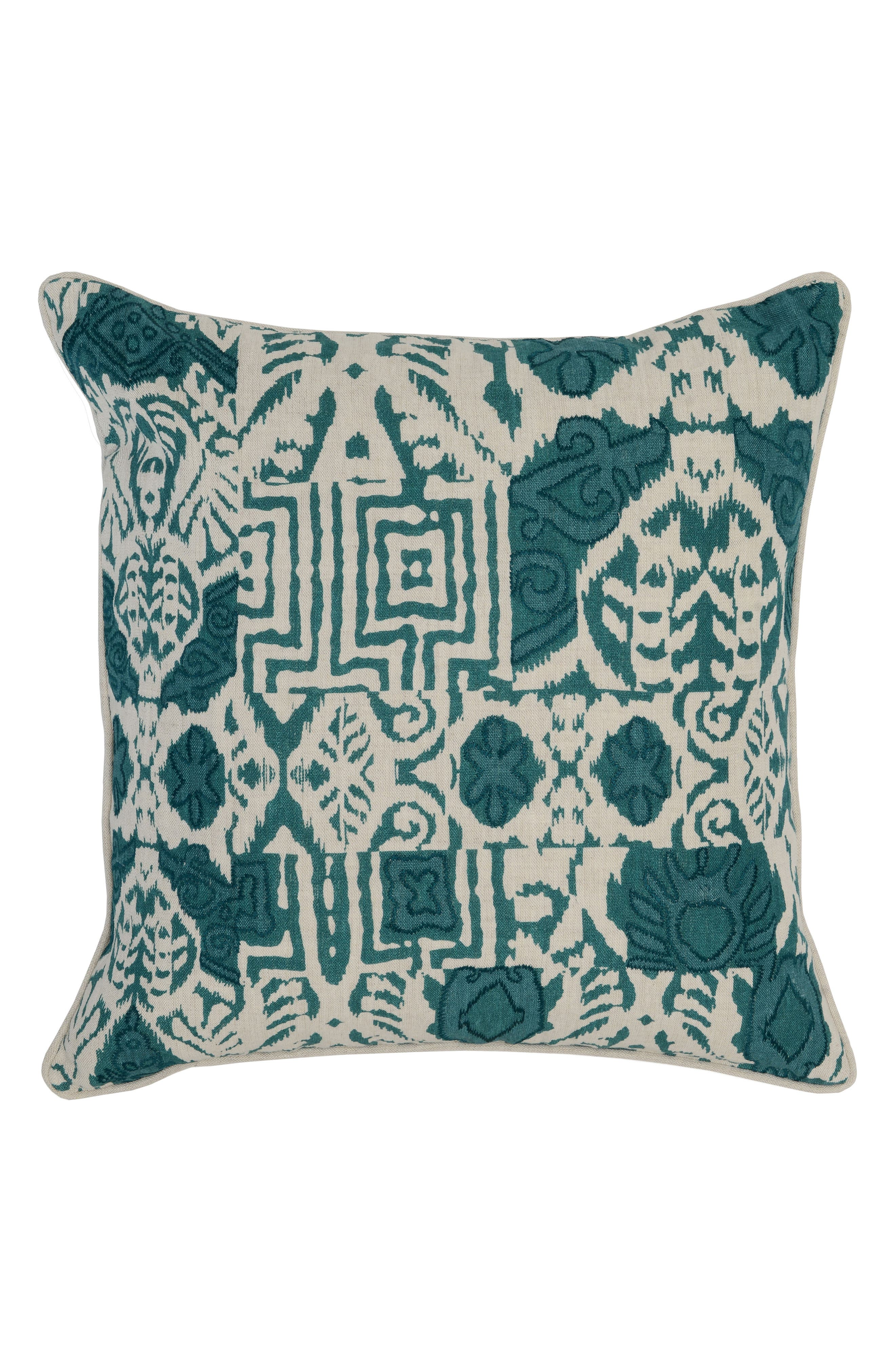 Leon Surf Accent Pillow,                         Main,                         color, Teal/ Ivory
