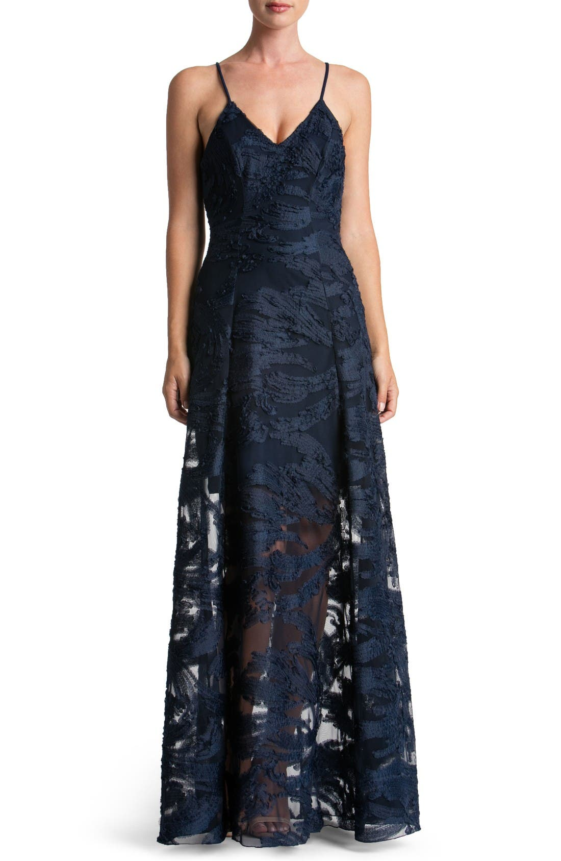 DRESS THE POPULATION Florence Woven Fit & Flare Gown