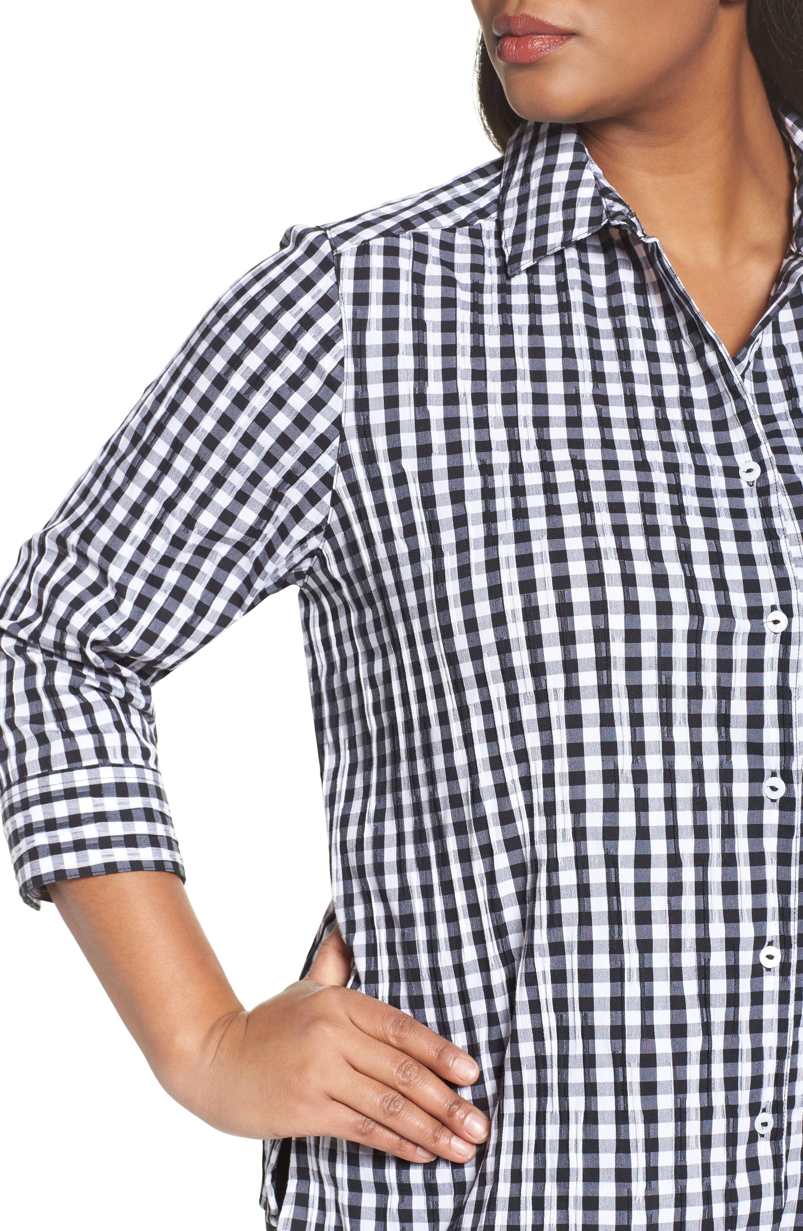 Alternate Image 4  - Foxcroft Gingham Shirt (Plus Size)