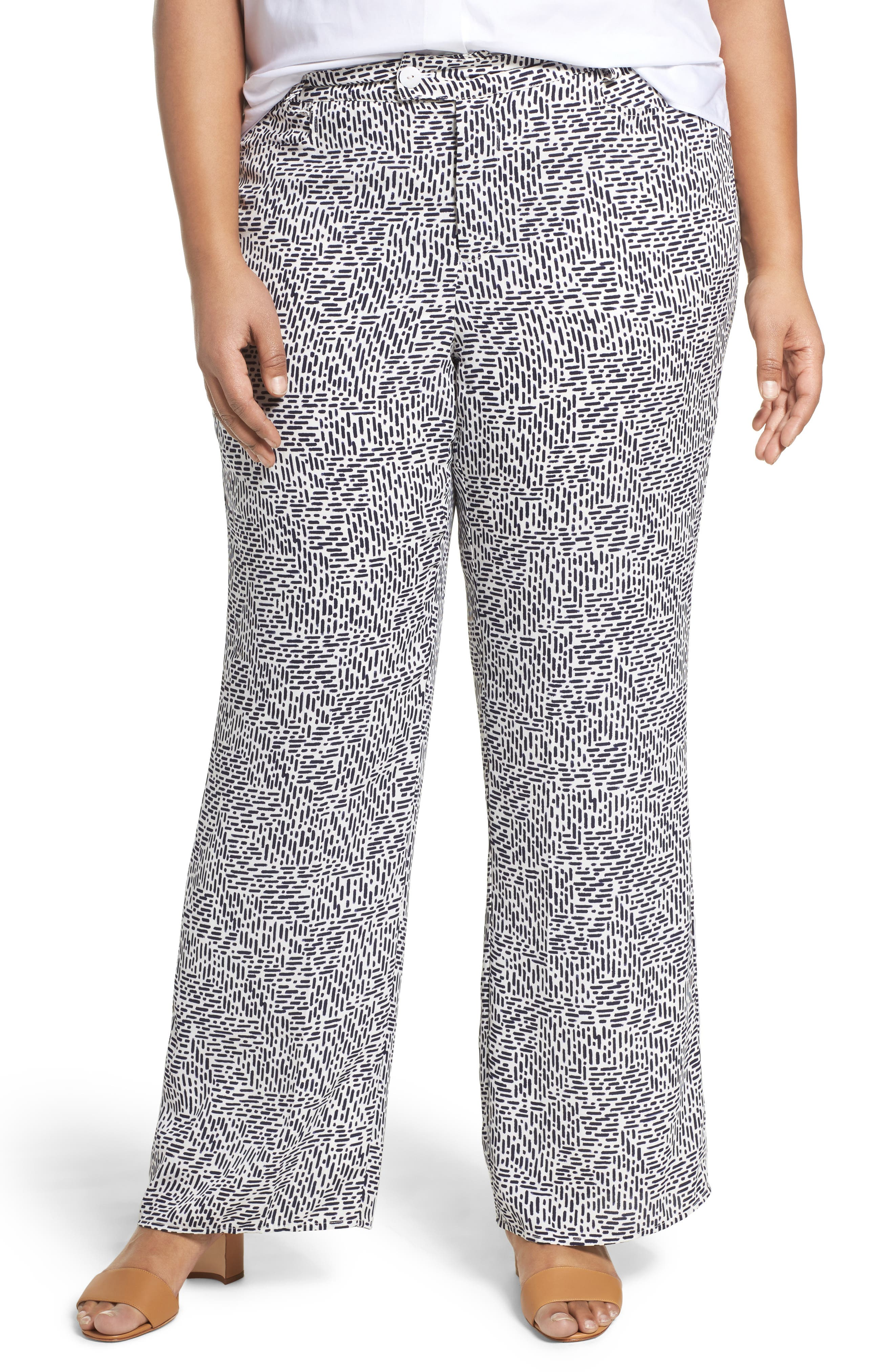 Dots & Dashes Flare Leg Pants,                         Main,                         color, White/ Navy