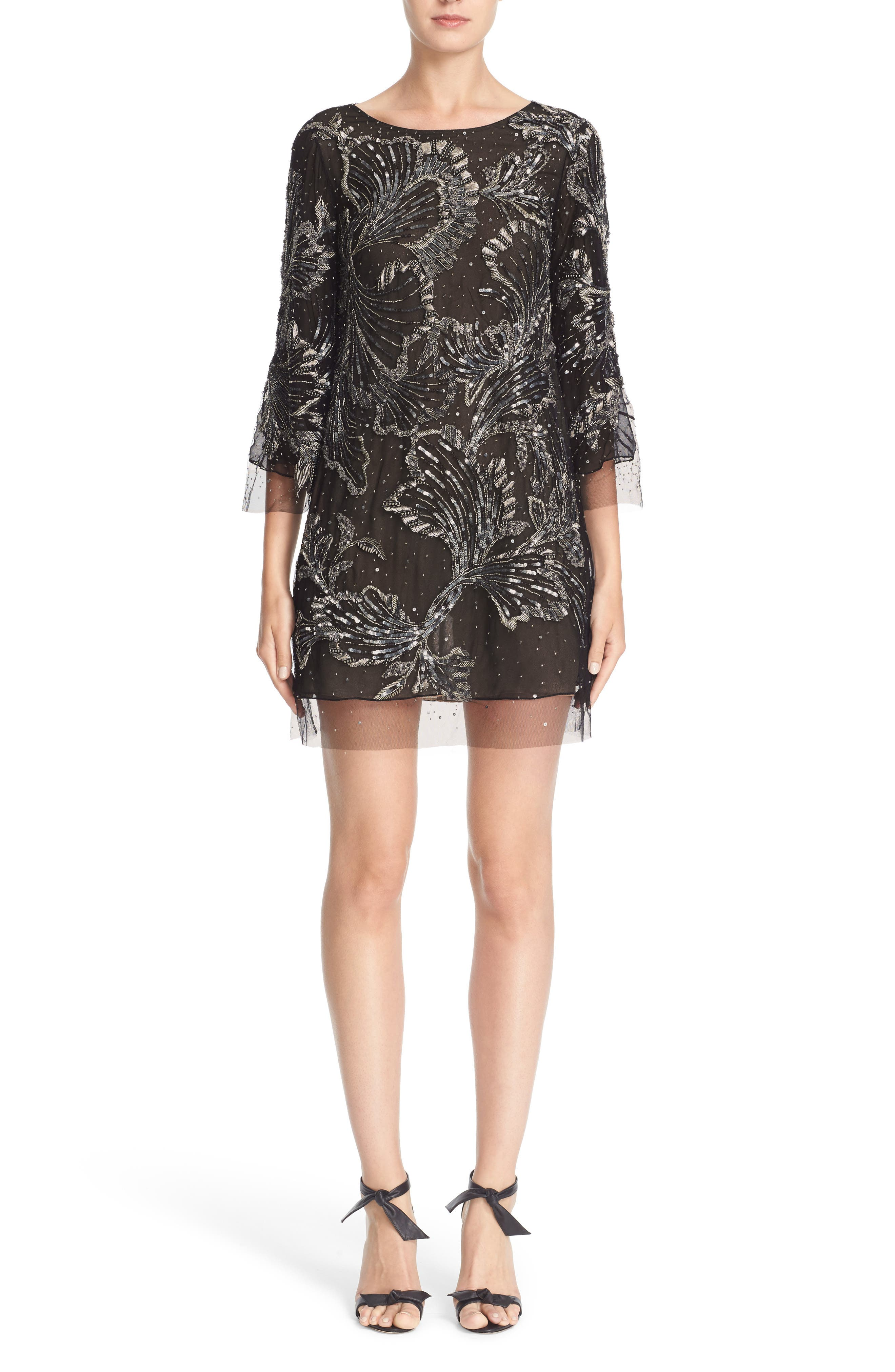 Embellished Three Quarter Sleeve Tulle Tunic,                         Main,                         color, Charcoal