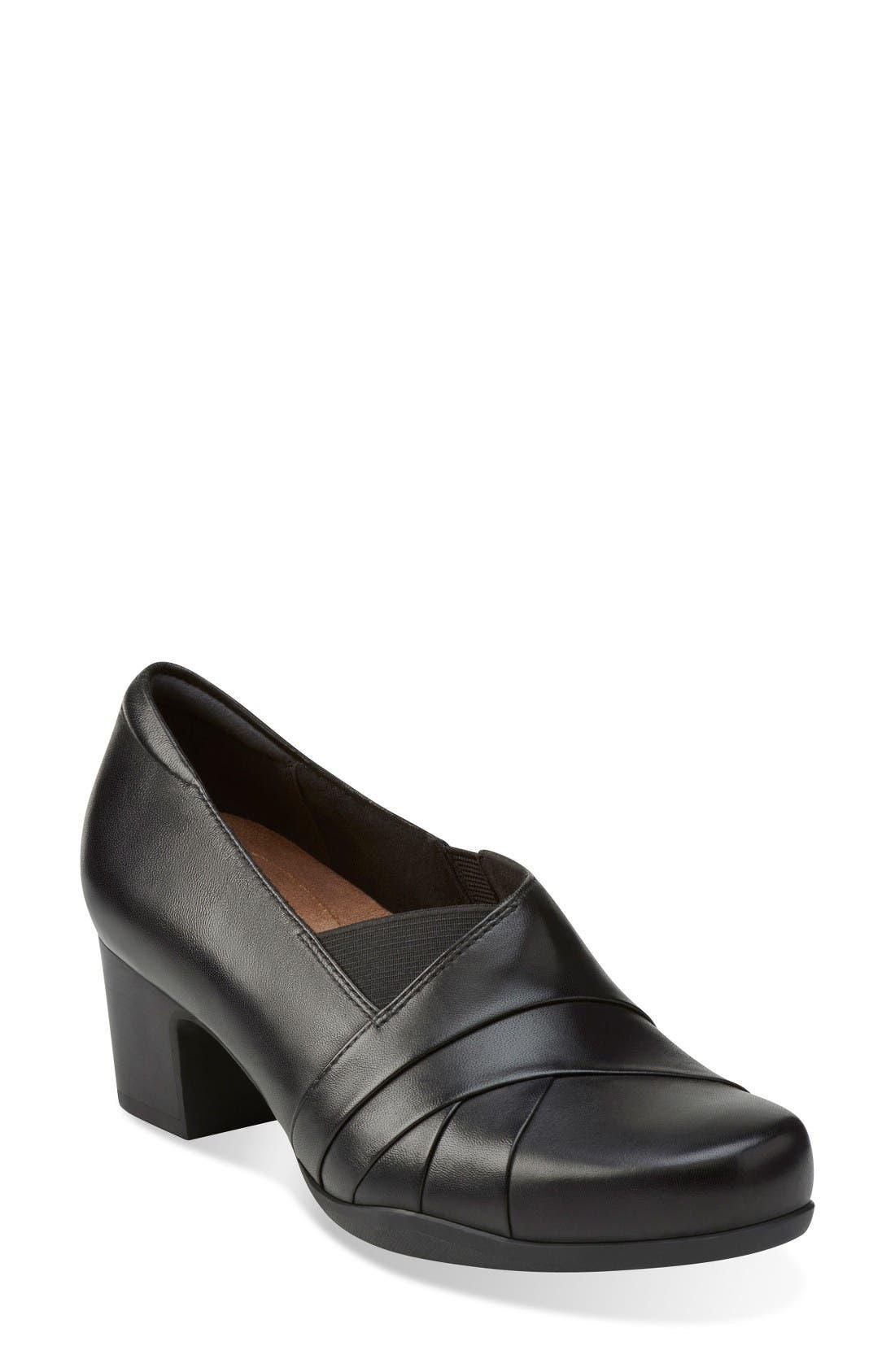 'Rosalyn Adele' Block Heel Pump,                             Main thumbnail 1, color,                             Black Leather