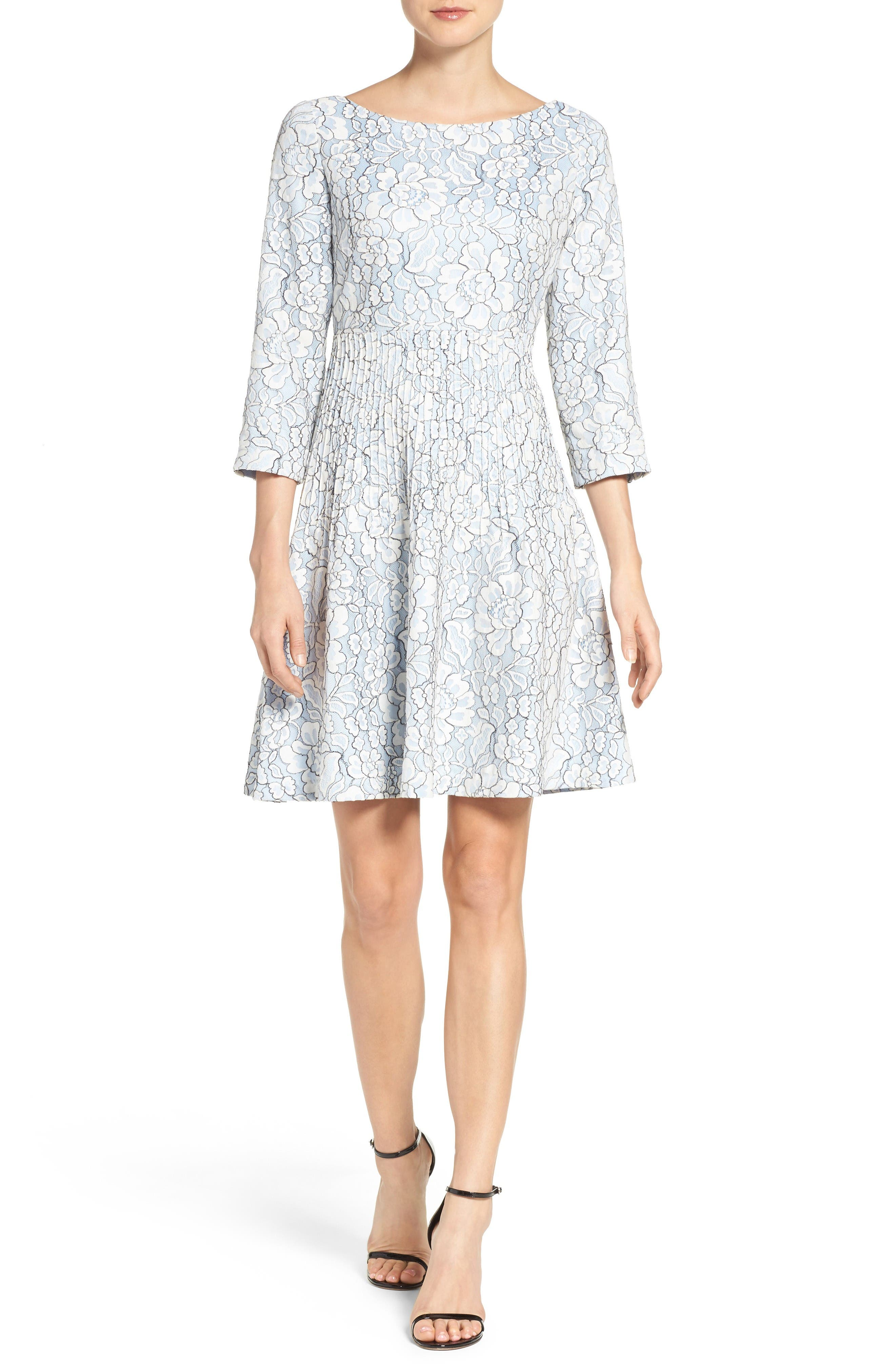 Embroidered Floral Fit & Flare Dress,                             Alternate thumbnail 5, color,                             Ivory/ Blue