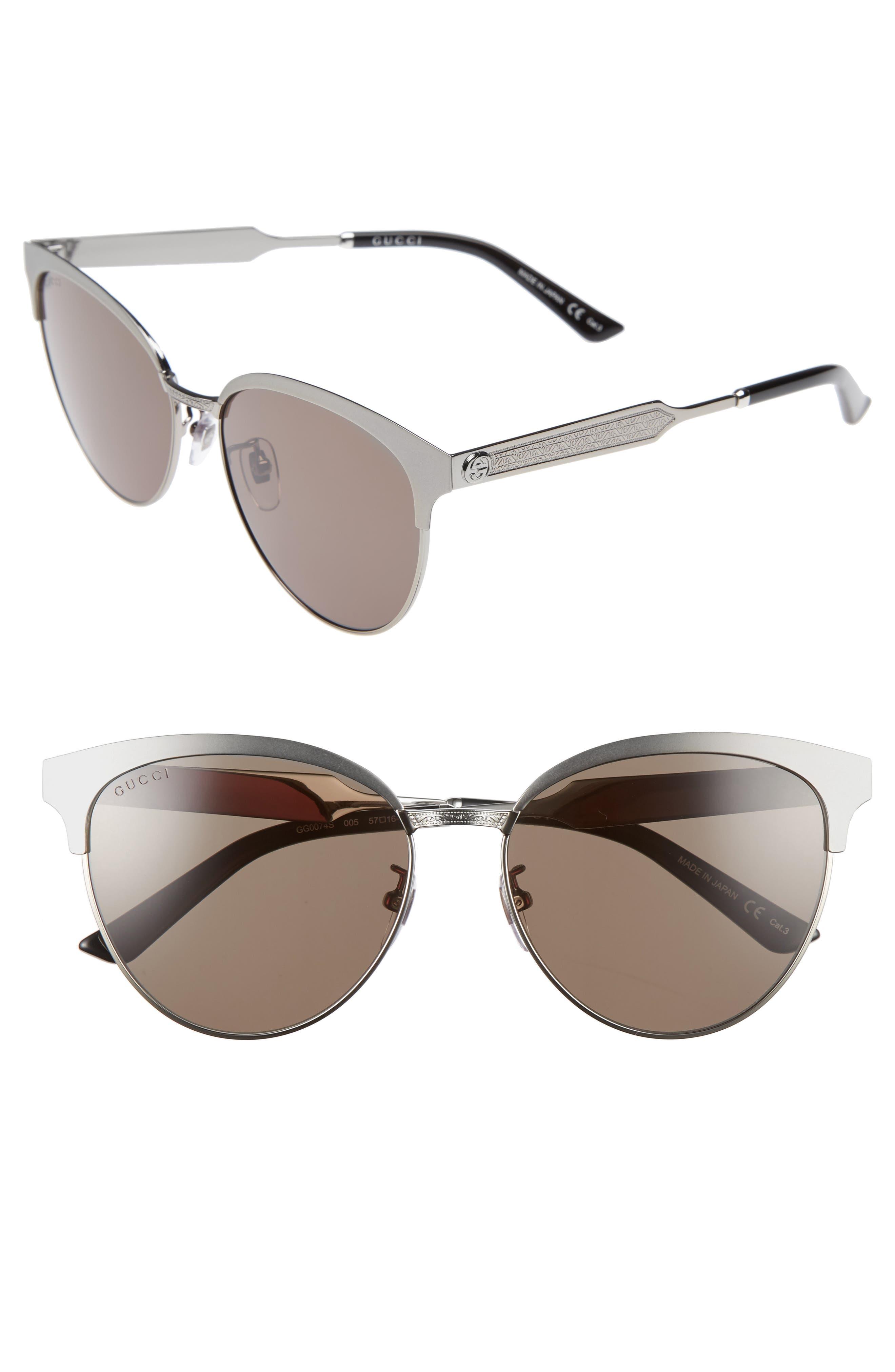 57mm Retro Sunglasses,                             Main thumbnail 1, color,                             Ruthenium/ Green