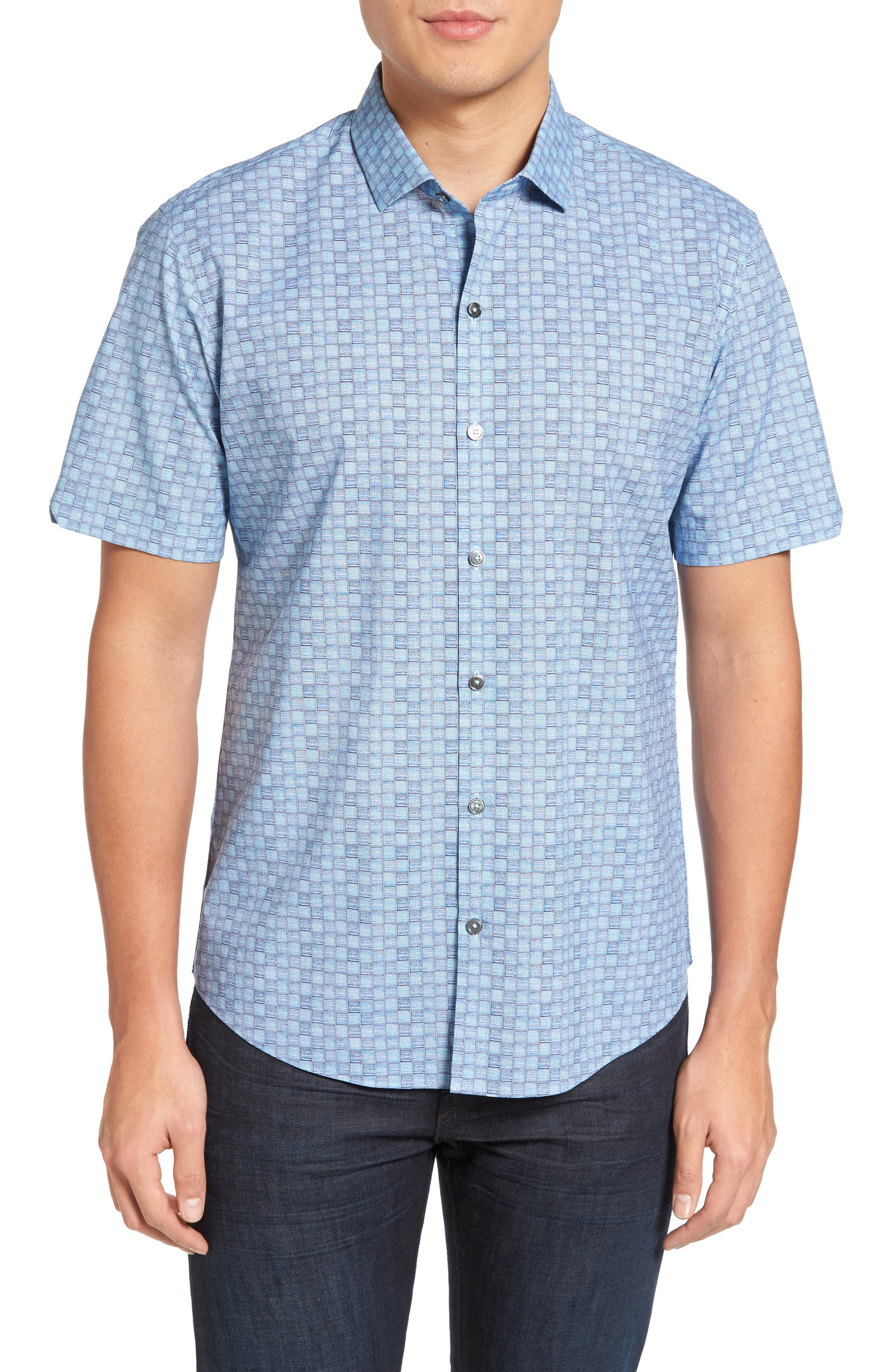Caringella Check Sport Shirt,                         Main,                         color, Turquoise