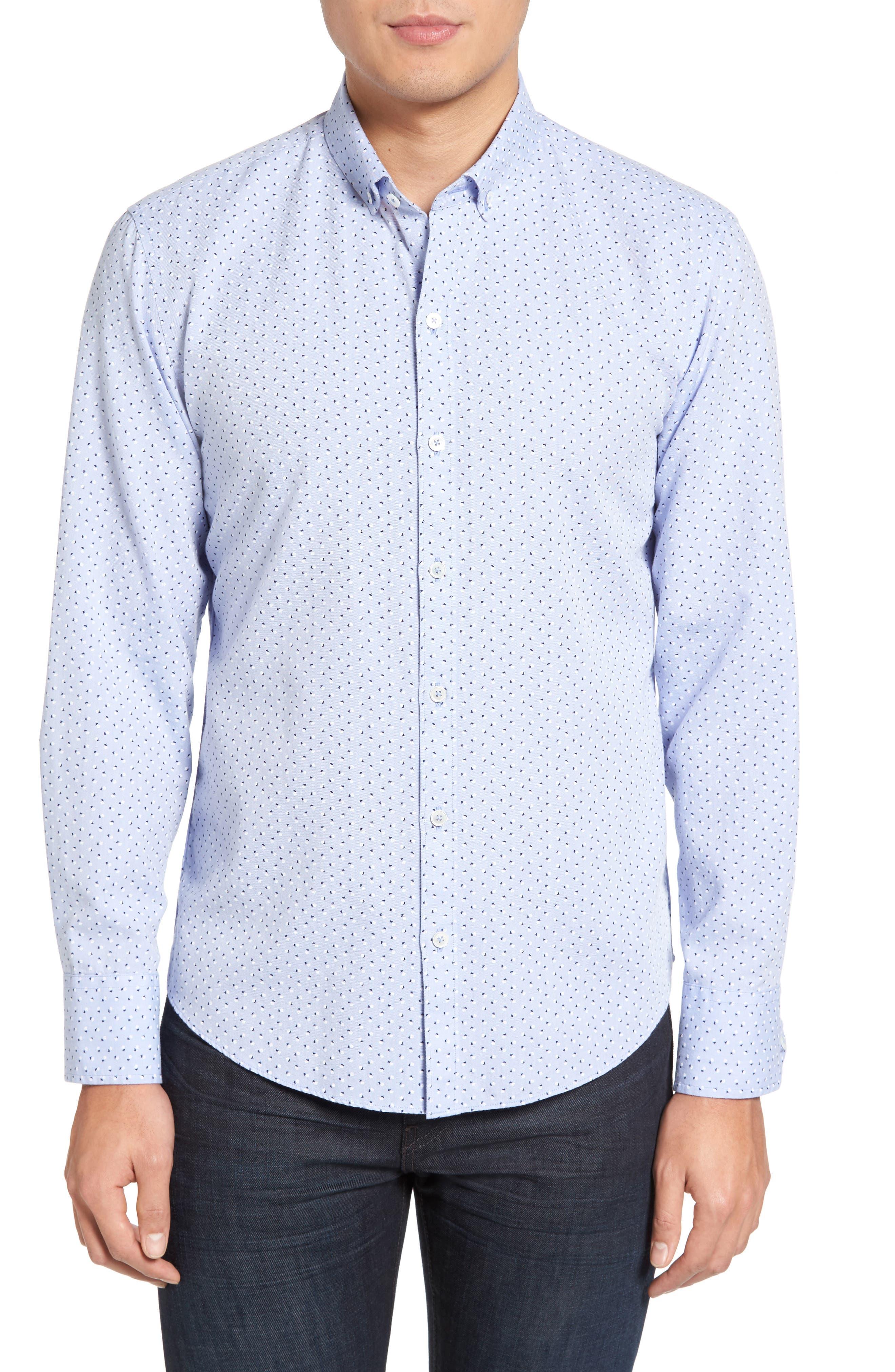 Benedict Print Sport Shirt,                         Main,                         color, Pale Blue