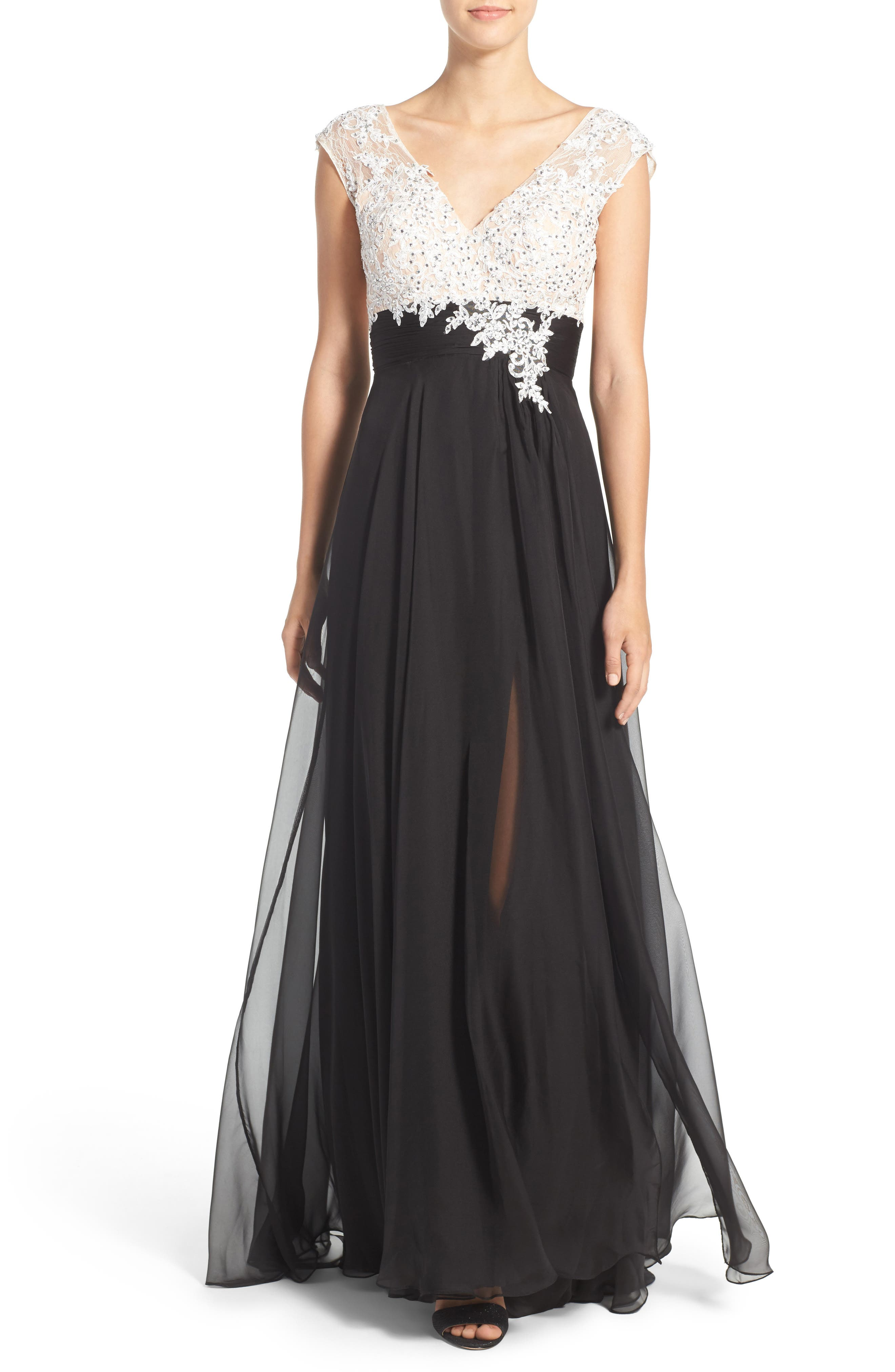 Mixed Media Gown,                         Main,                         color, Black/ White