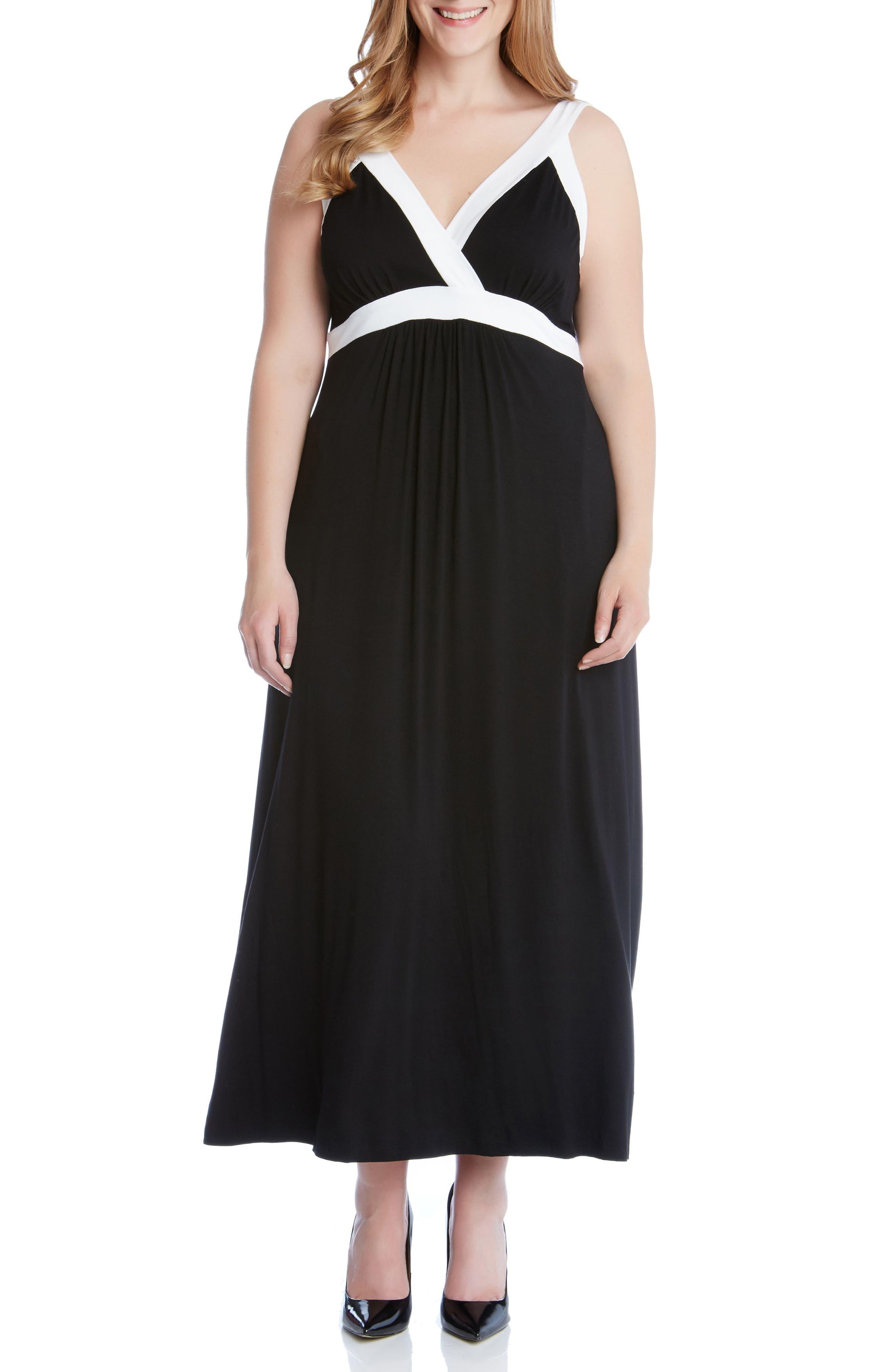 Banded A-Line Maxi Dress,                             Main thumbnail 1, color,                             Black