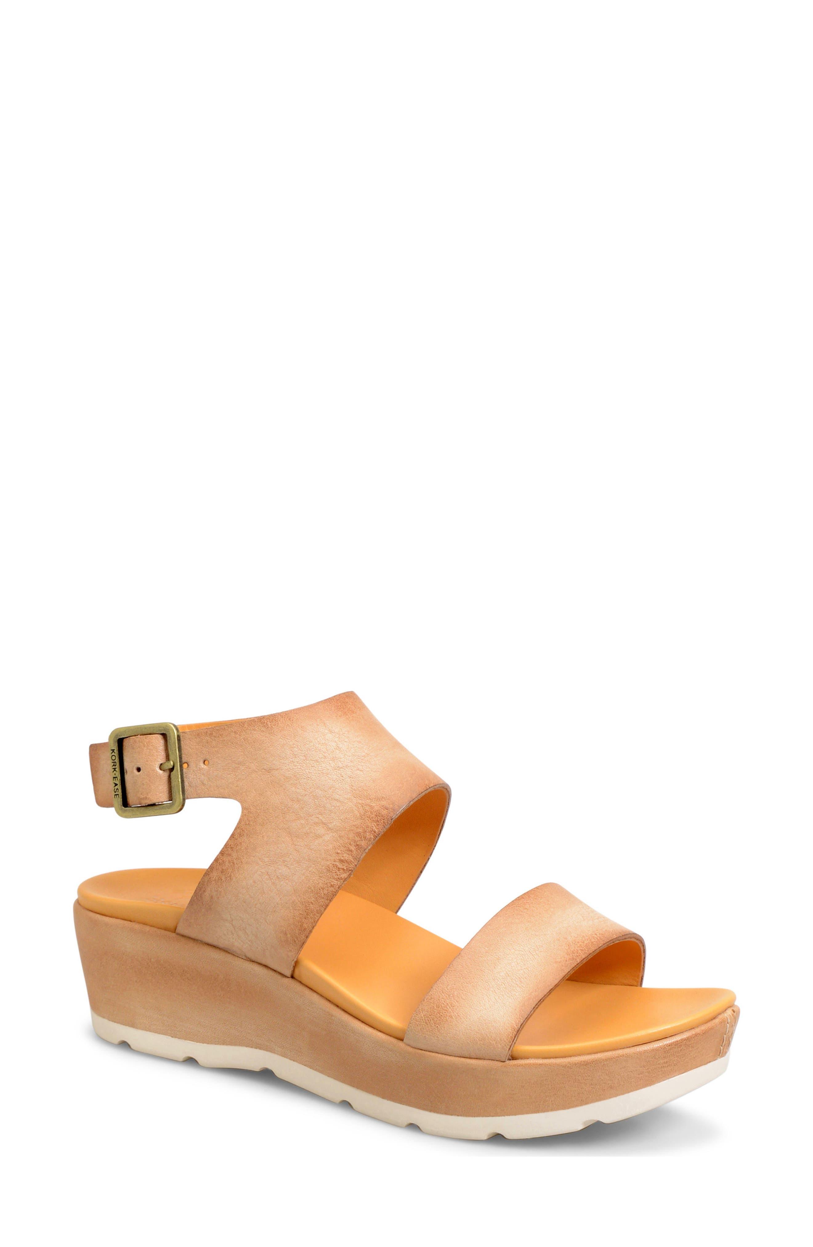 'Khloe' Platform Wedge Sandal,                         Main,                         color, Natural Leather