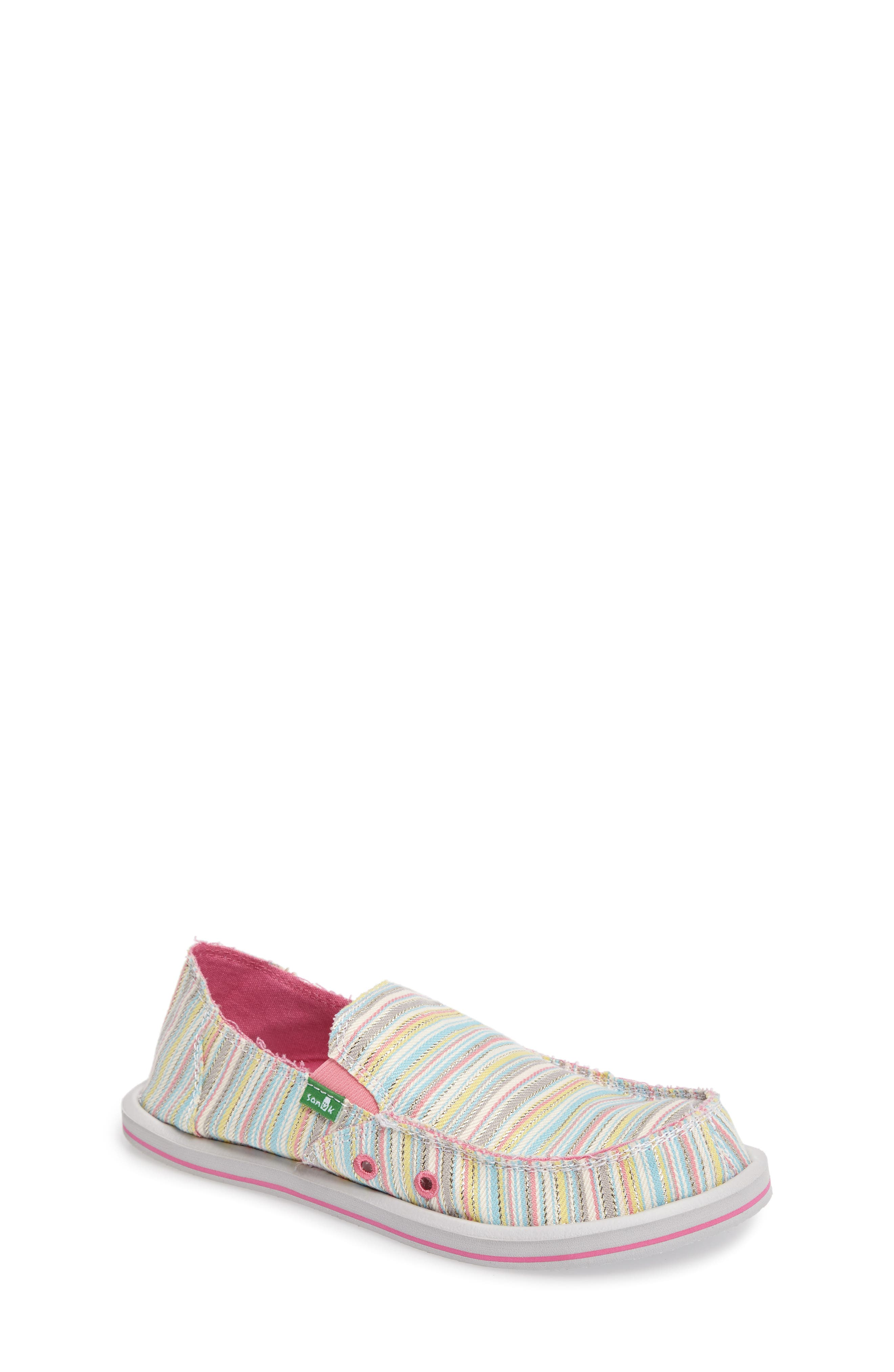 'Donna - Poncho' Vegan Slip-On,                         Main,                         color, Aqua/ Pink Pinstripe
