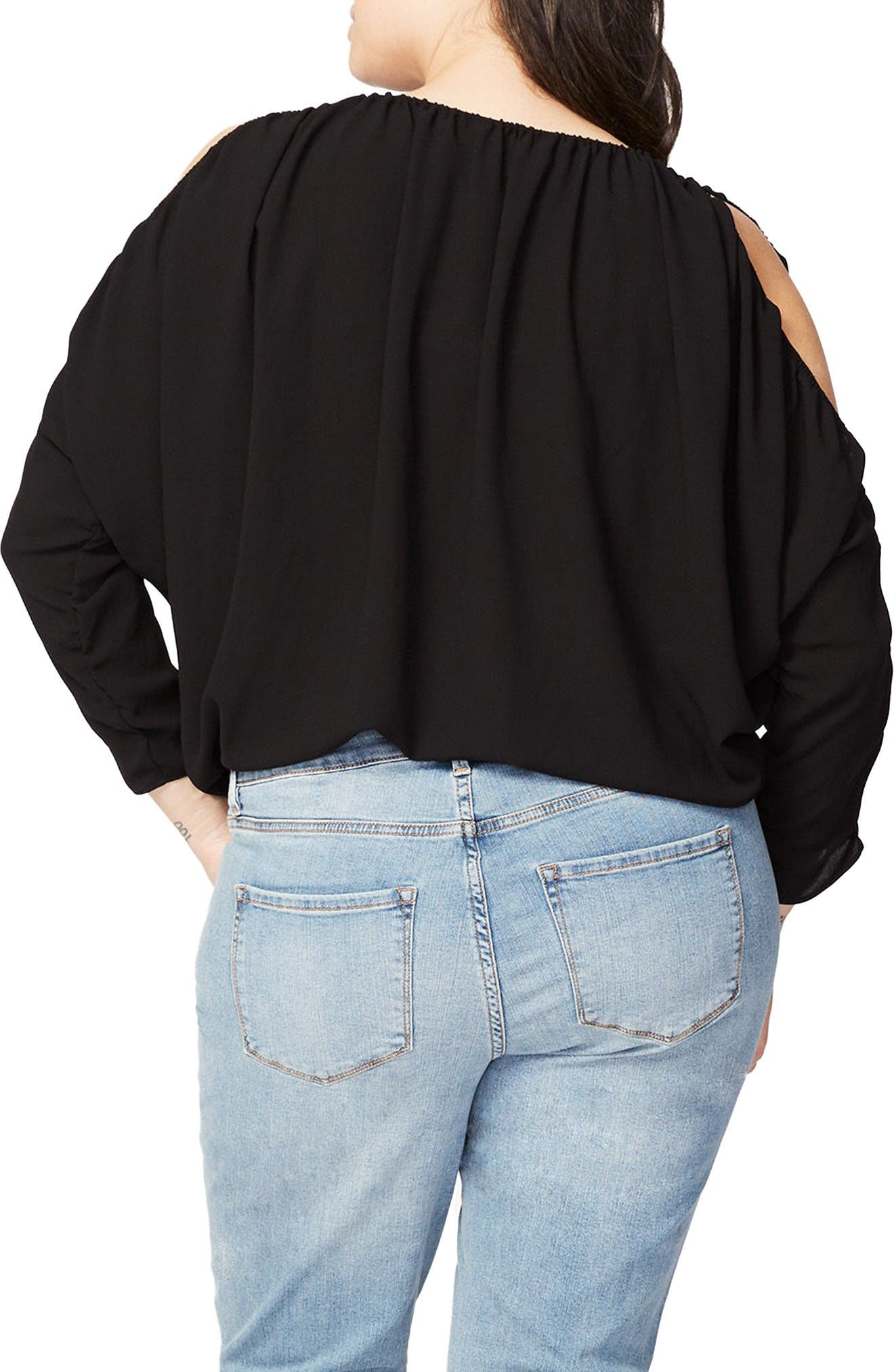 Rachel Roy Ruched Cold Shoulder Blouse,                             Alternate thumbnail 2, color,                             Black