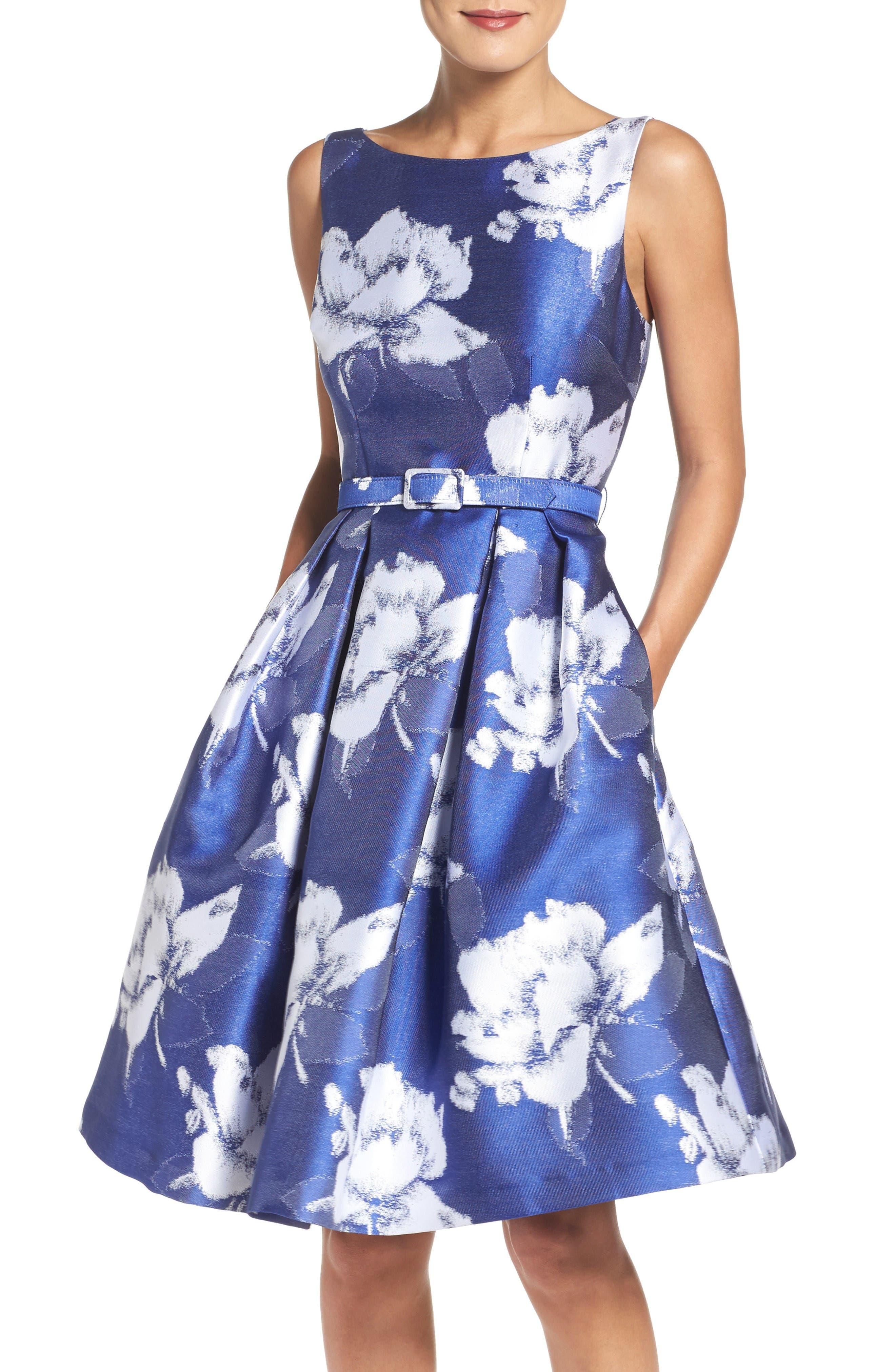 Main Image - Eliza J Belted Floral Jacquard Dress