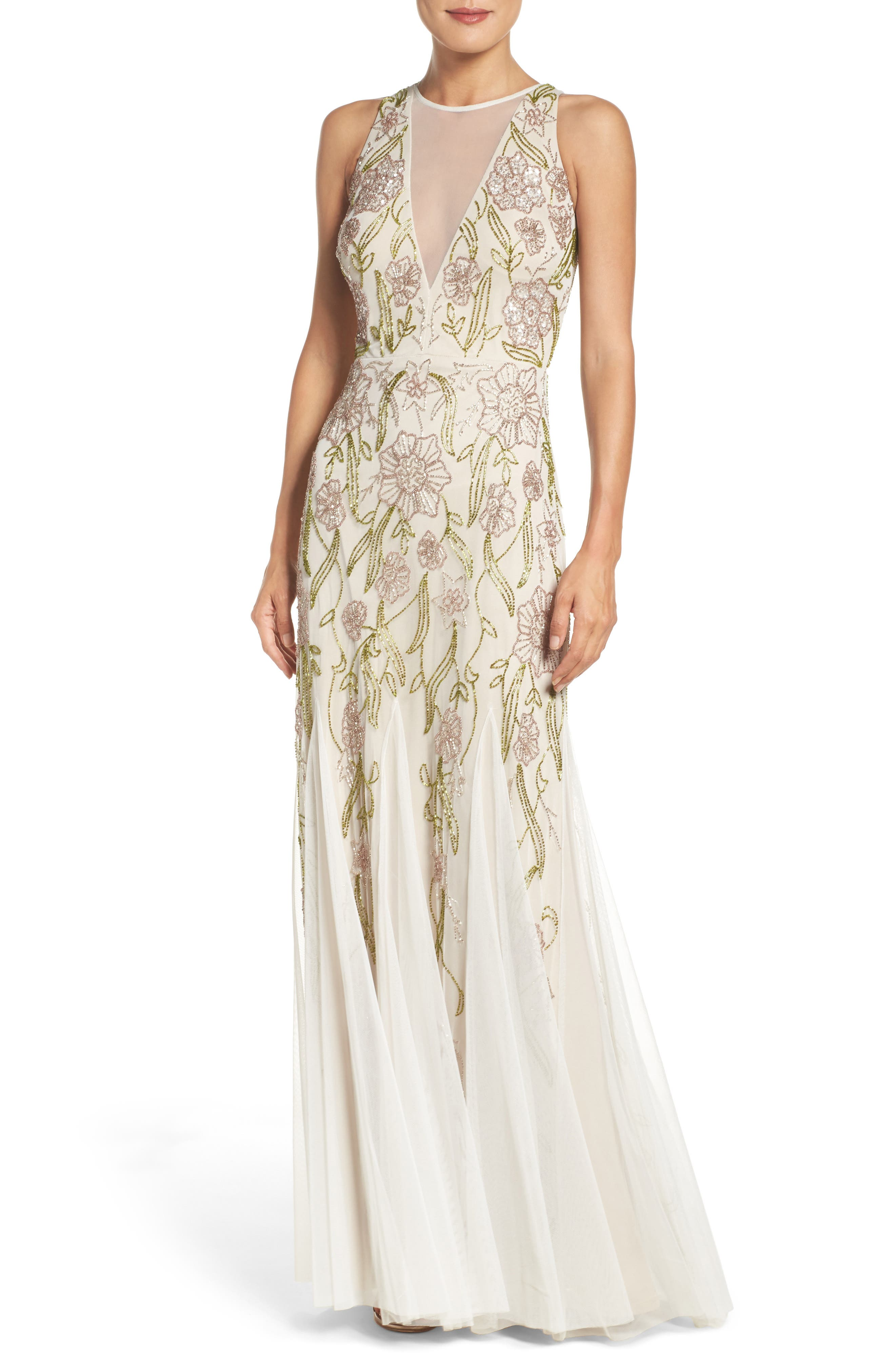Alternate Image 1 Selected - Adrianna Papell Mesh Mermaid Gown