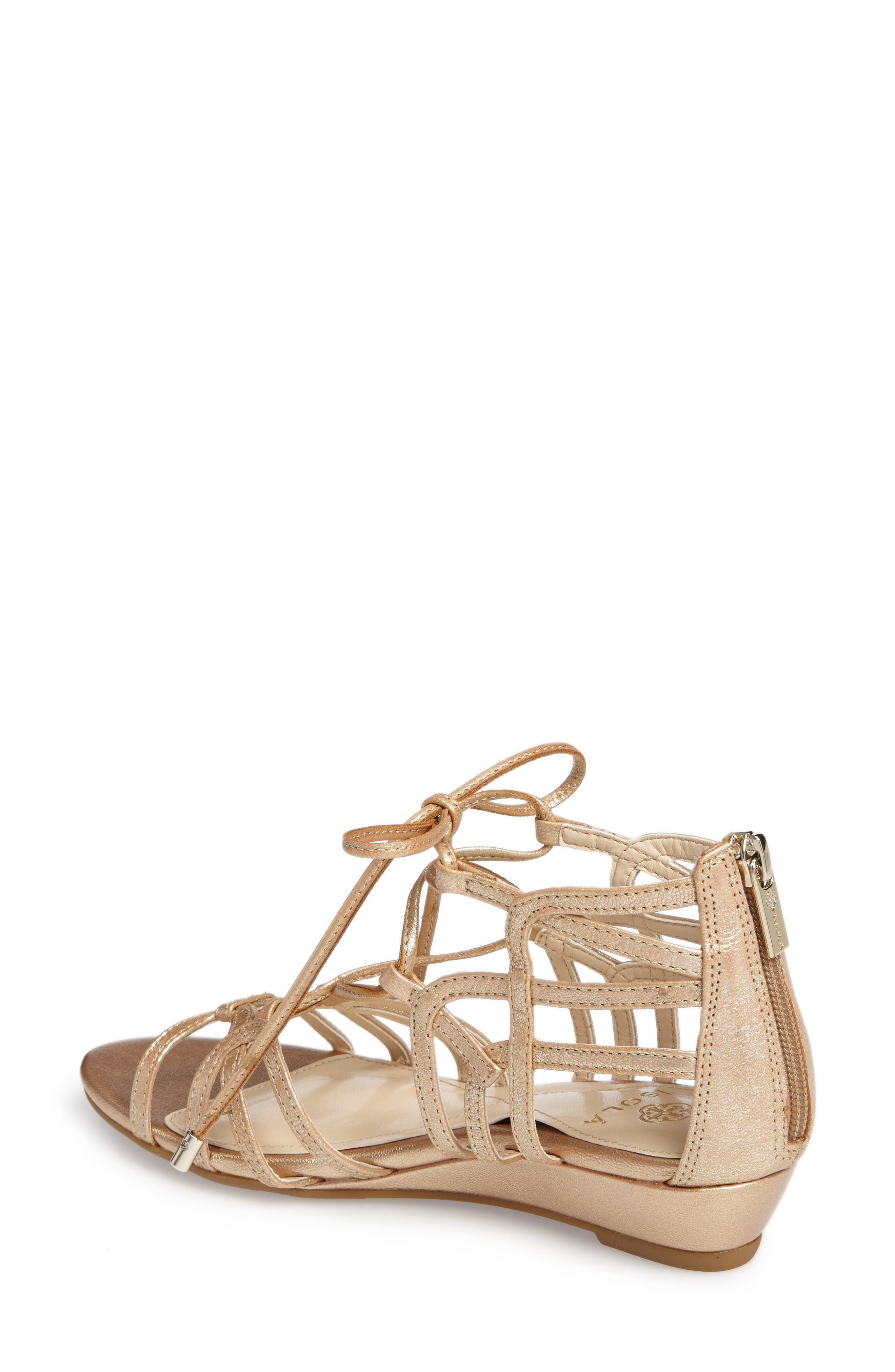 Elisia Lace-Up Sandal,                             Alternate thumbnail 2, color,                             Gold Leather