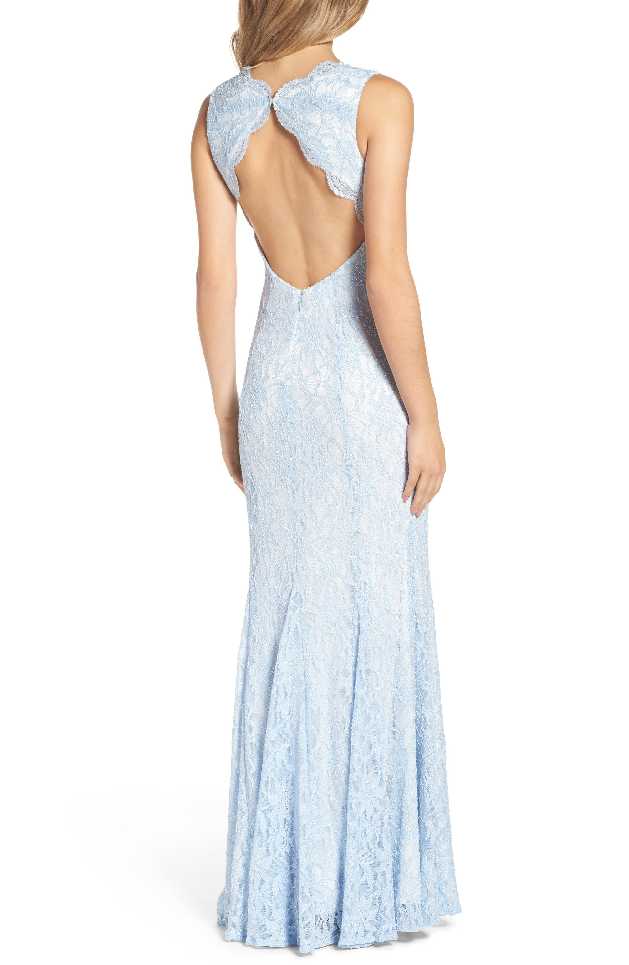 Glitter Lace Gown,                             Alternate thumbnail 2, color,                             Ice Blue/ Ivory