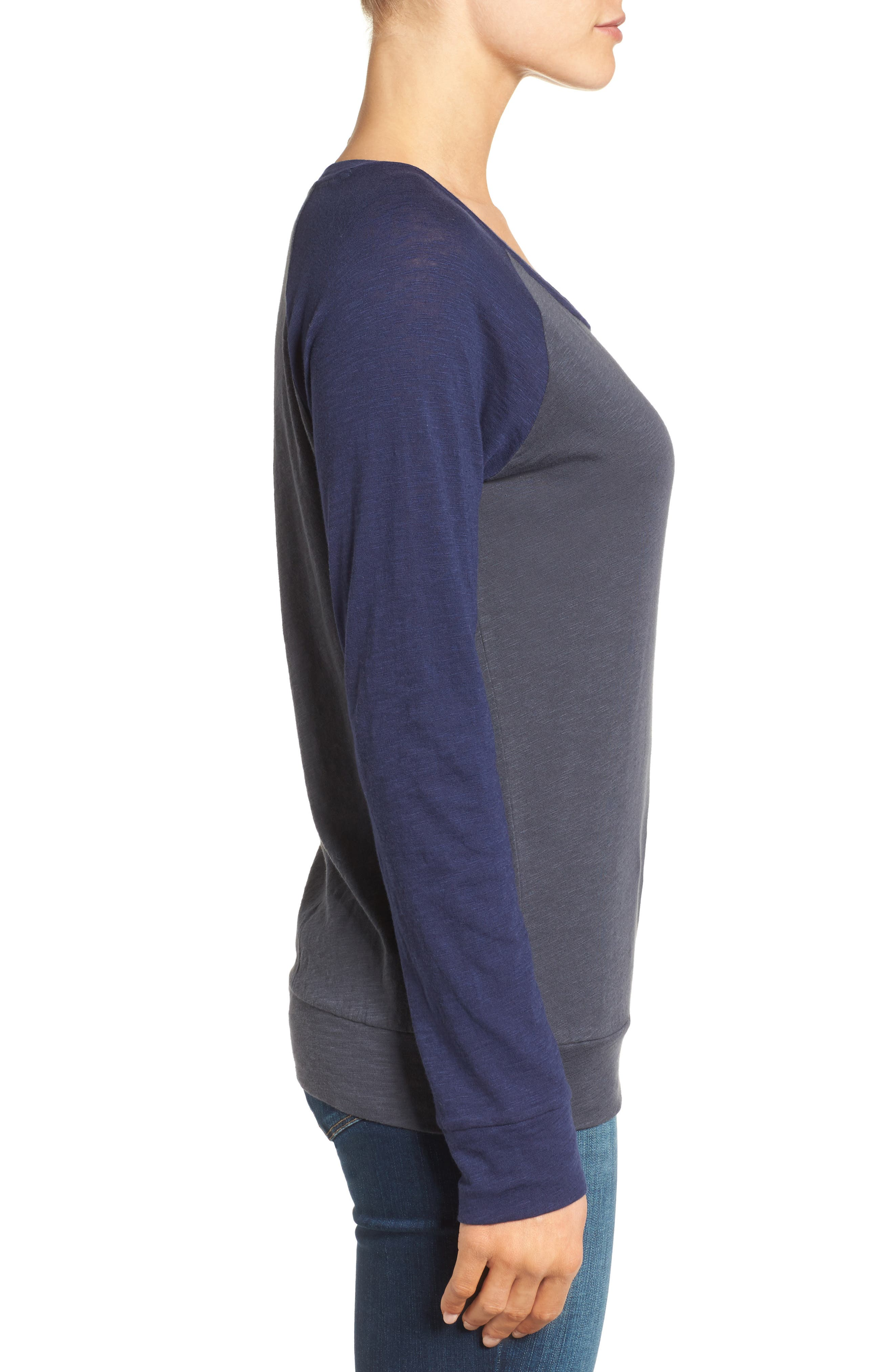 Lightweight Colorblock Cotton Tee,                             Alternate thumbnail 3, color,                             Grey- Navy Colorblock