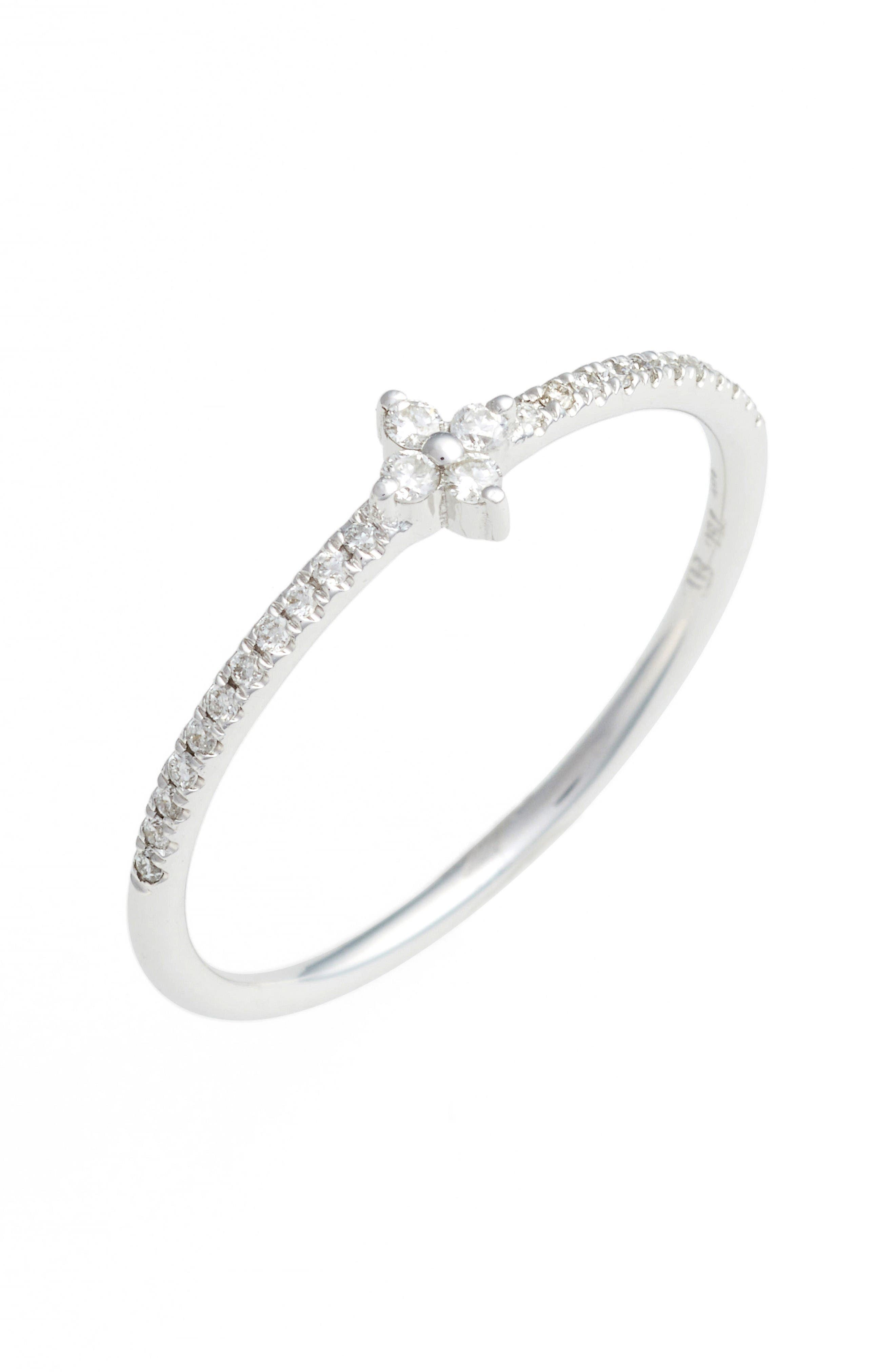 Diamond Flower Stack Ring,                         Main,                         color, White Gold