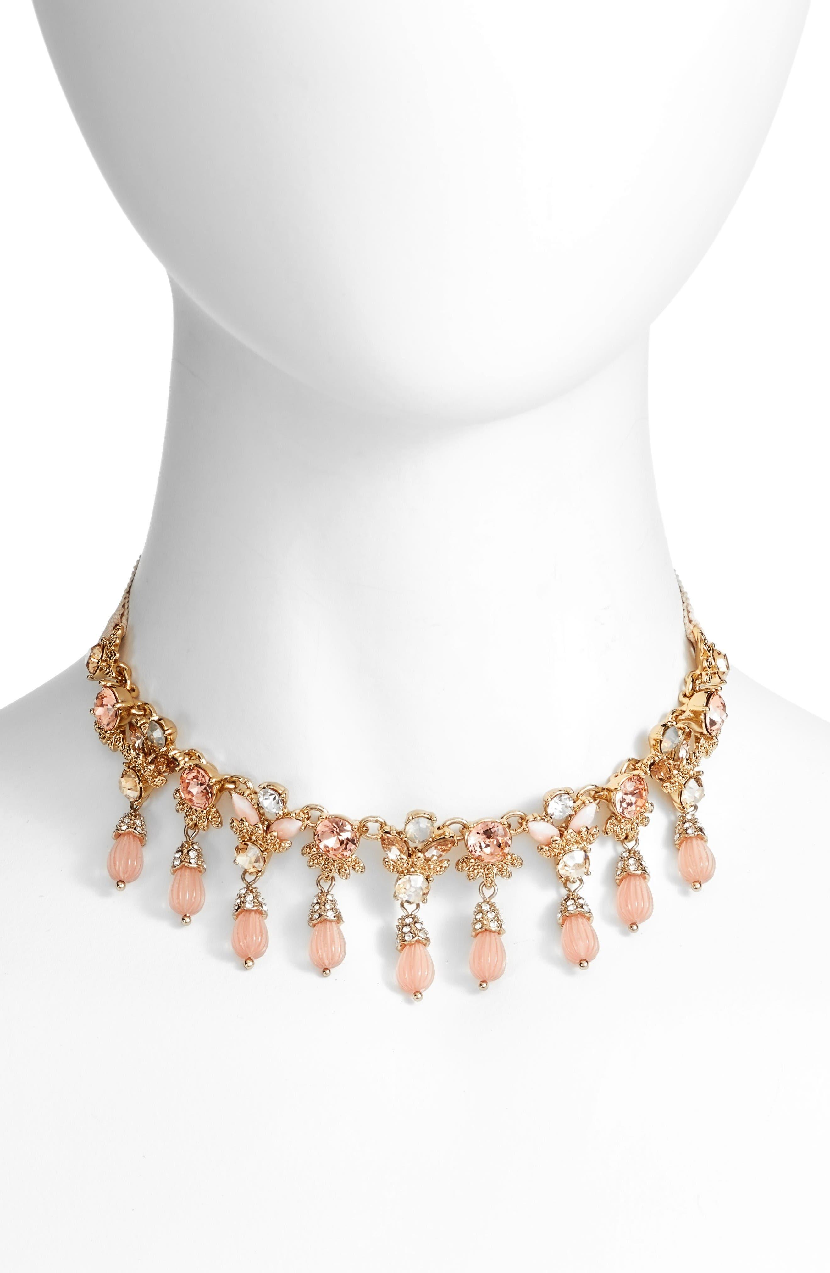 Adjustable Necklace,                             Main thumbnail 1, color,                             Blush / Gold