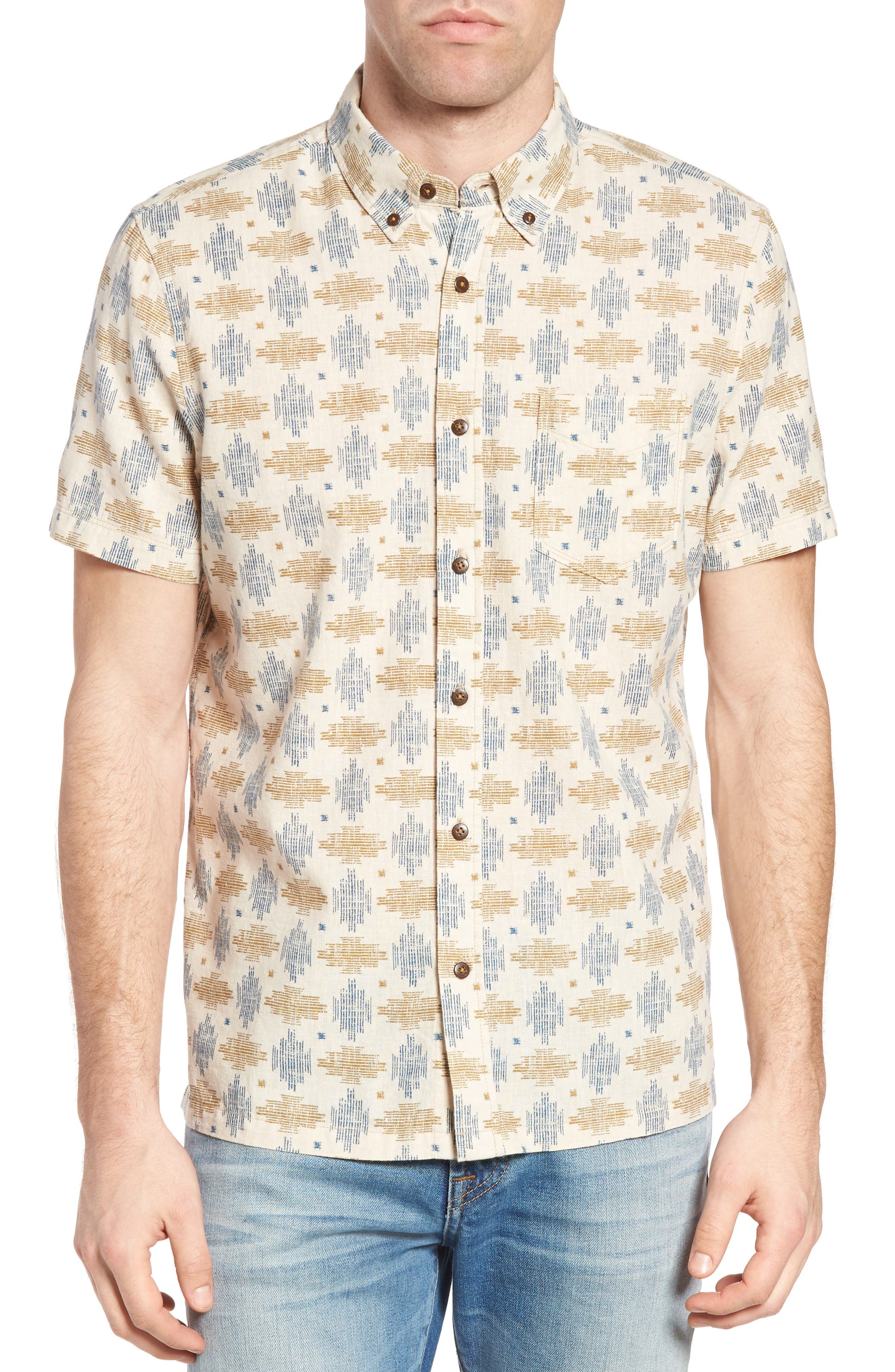 Giles Regular Fit Linen & Cotton Sport Shirt,                             Main thumbnail 1, color,                             Beige
