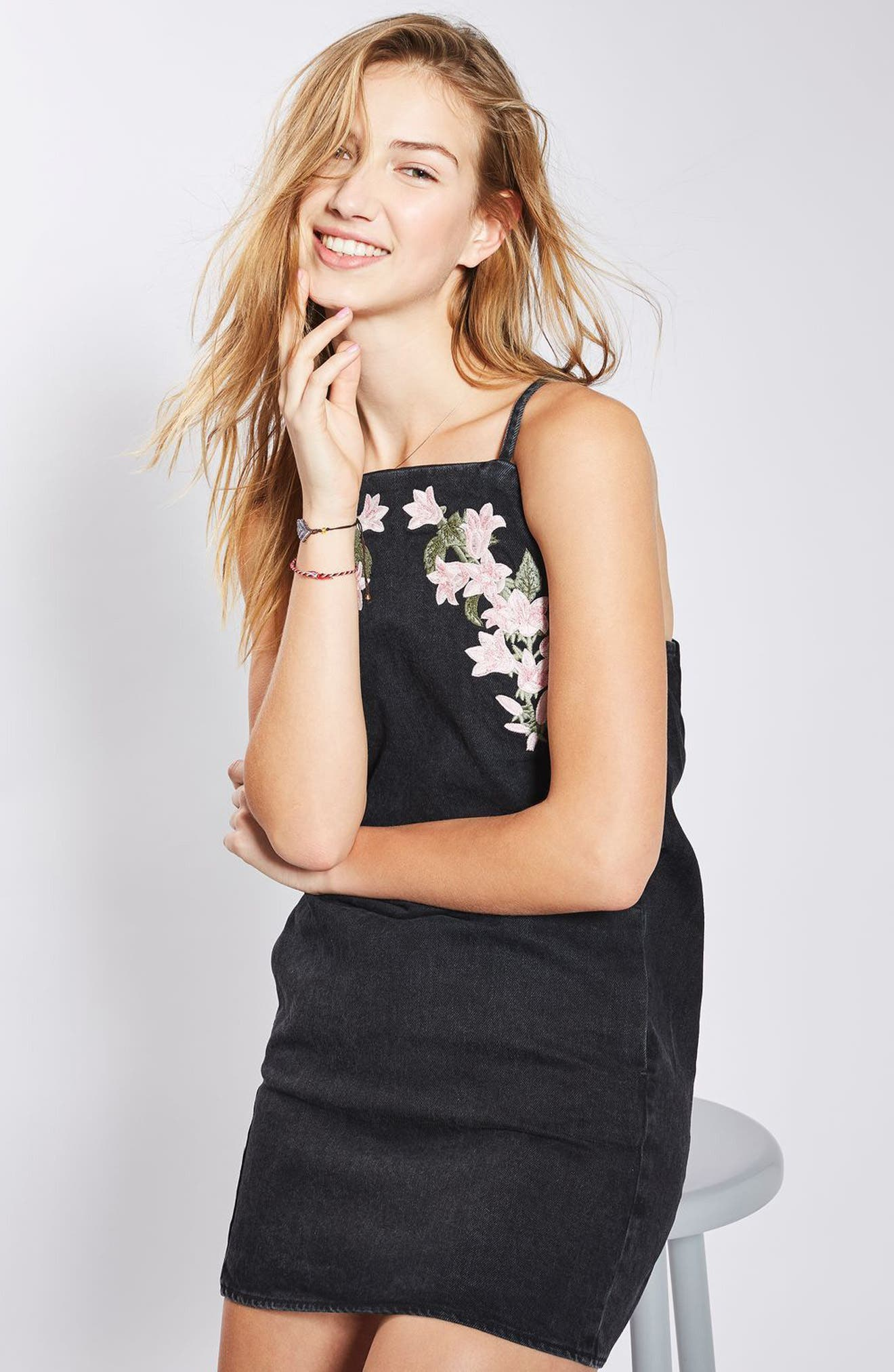 Alternate Image 2  - Topshop Tulip Embroidered Pinafore Dress