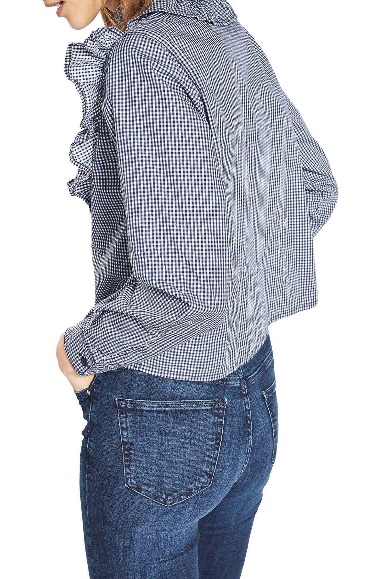 Alternate Image 3  - Topshop Moto Ruffle Gingham Shirt