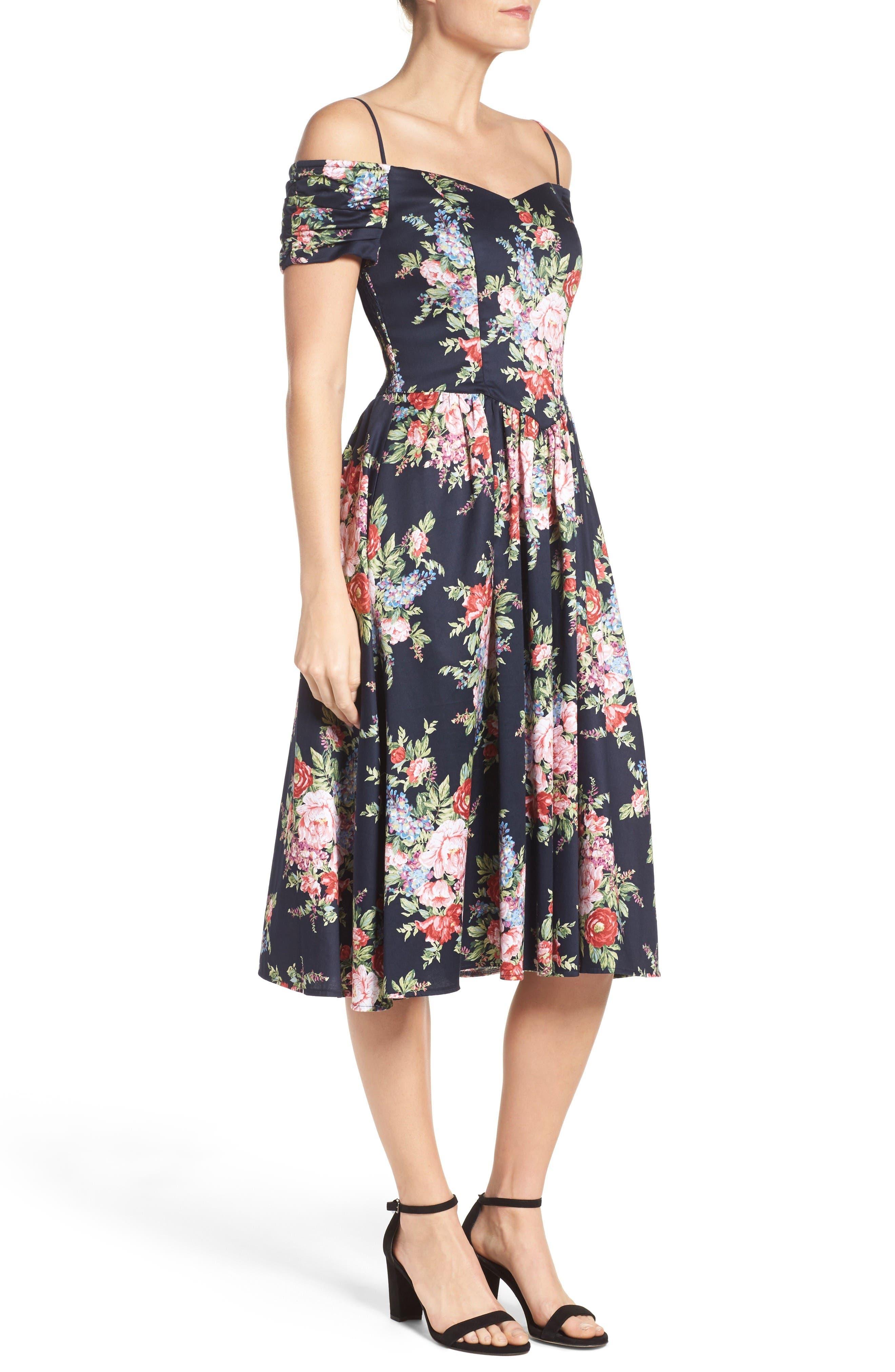 Alternate Image 3  - Chetta B Off the Shoulder Midi Dress