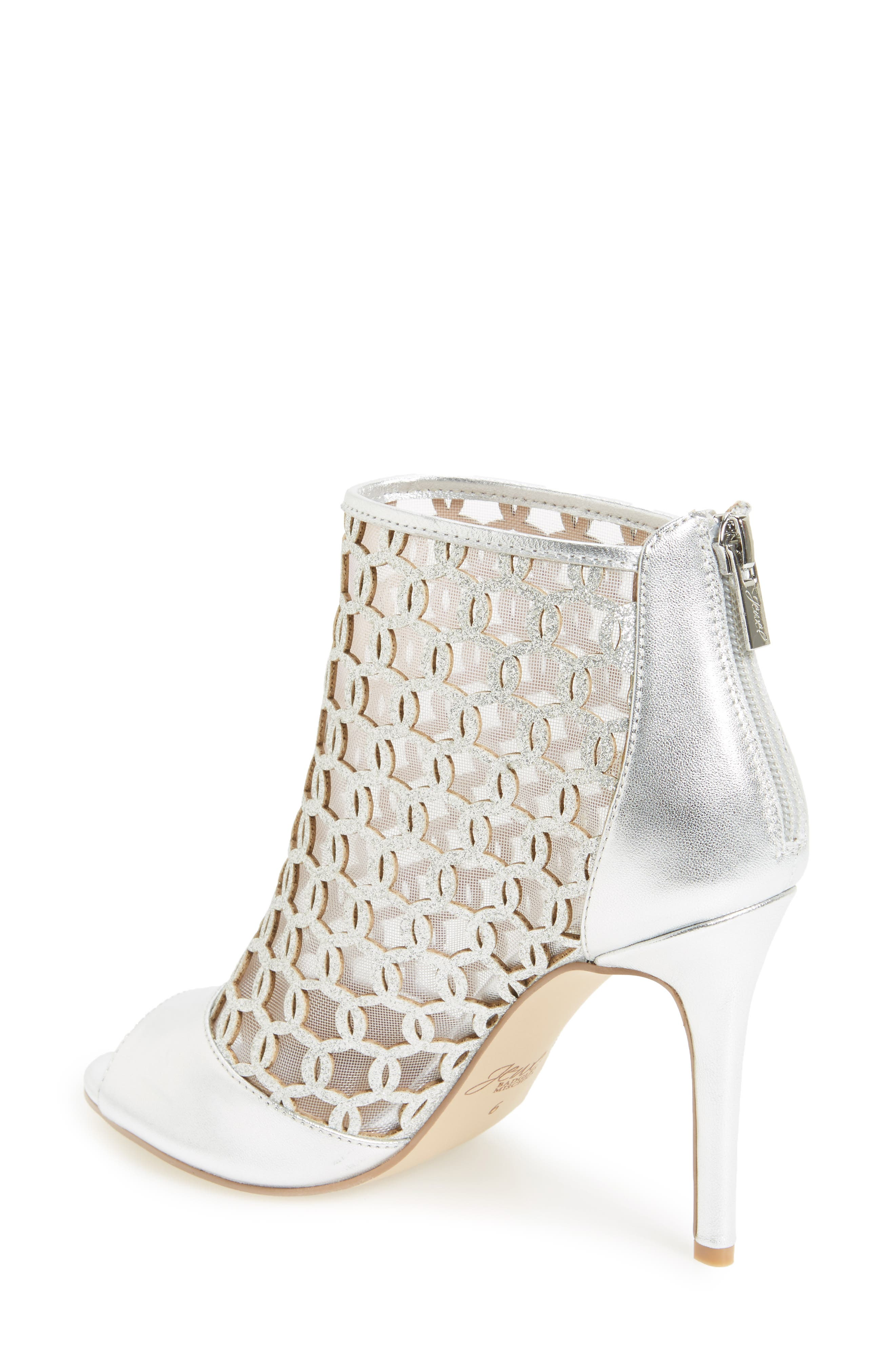 Holt II Glittery Cage Sandal,                             Alternate thumbnail 2, color,                             Silver Satin