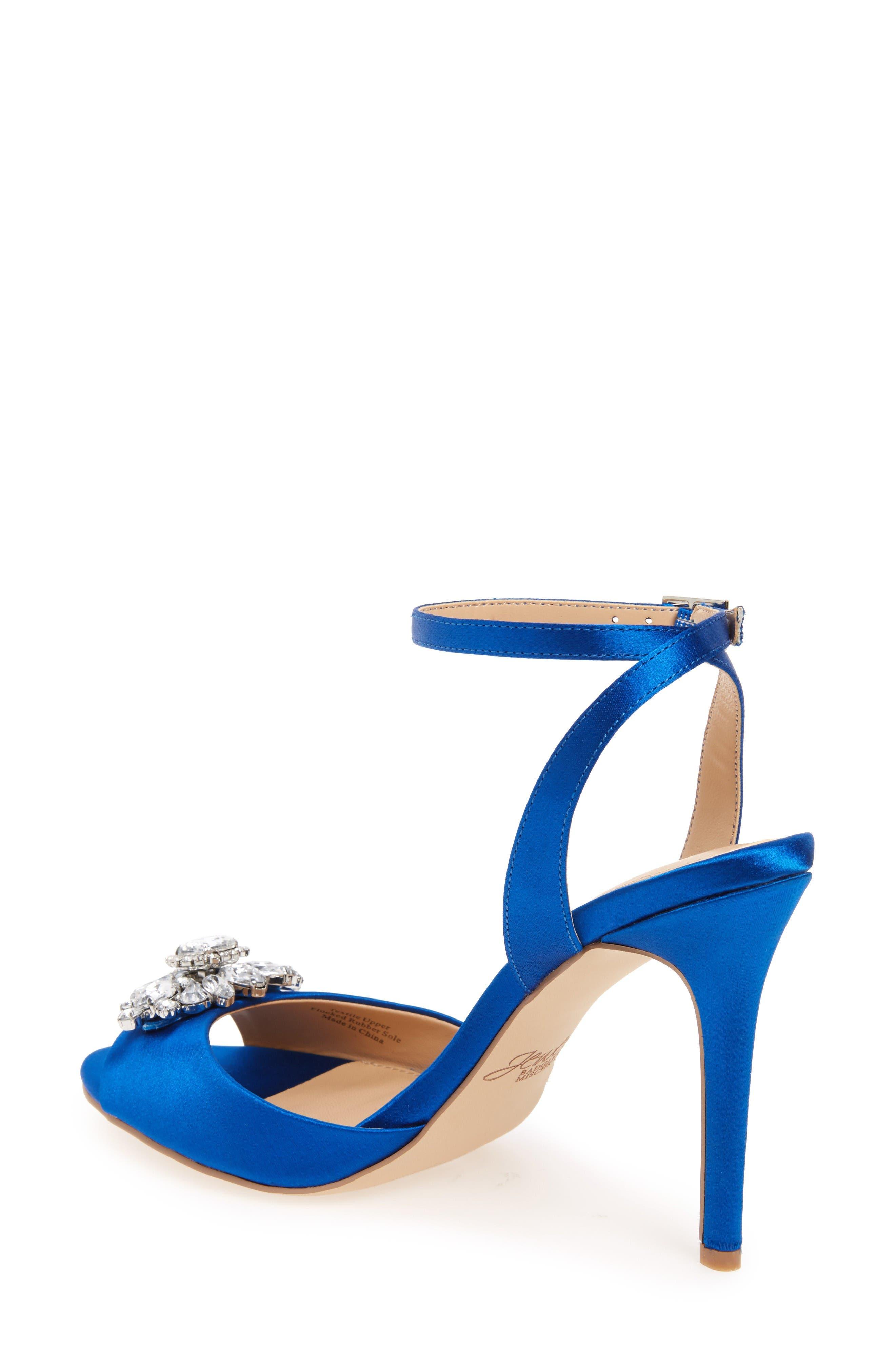 Hayden Embellished Ankle Strap Sandal,                             Alternate thumbnail 2, color,                             Blue Satin