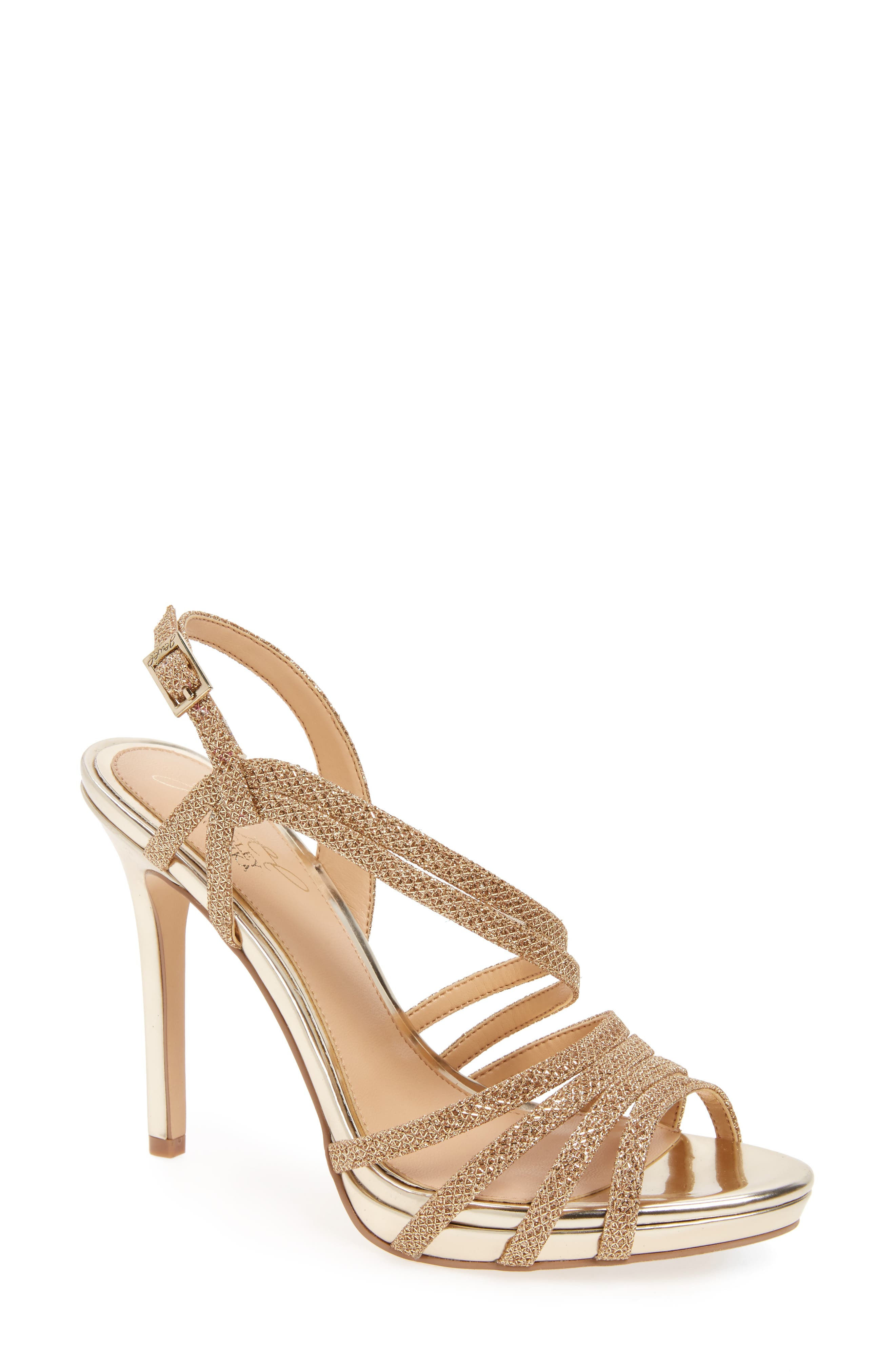 Humble Strappy Sandal,                             Main thumbnail 1, color,                             Gold Glitter Fabric