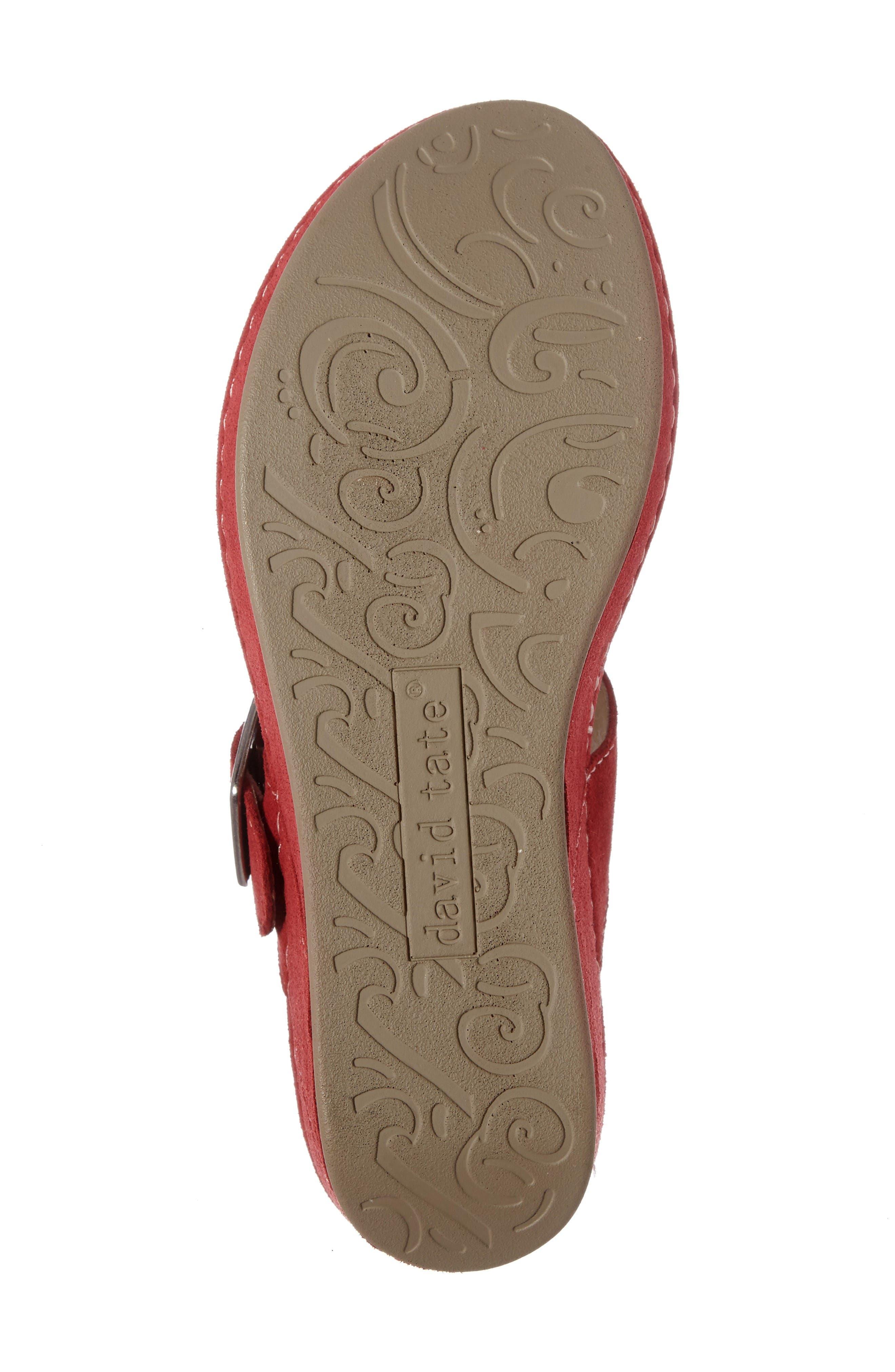 Spring Platform Wedge Sandal,                             Alternate thumbnail 4, color,                             Red Suede