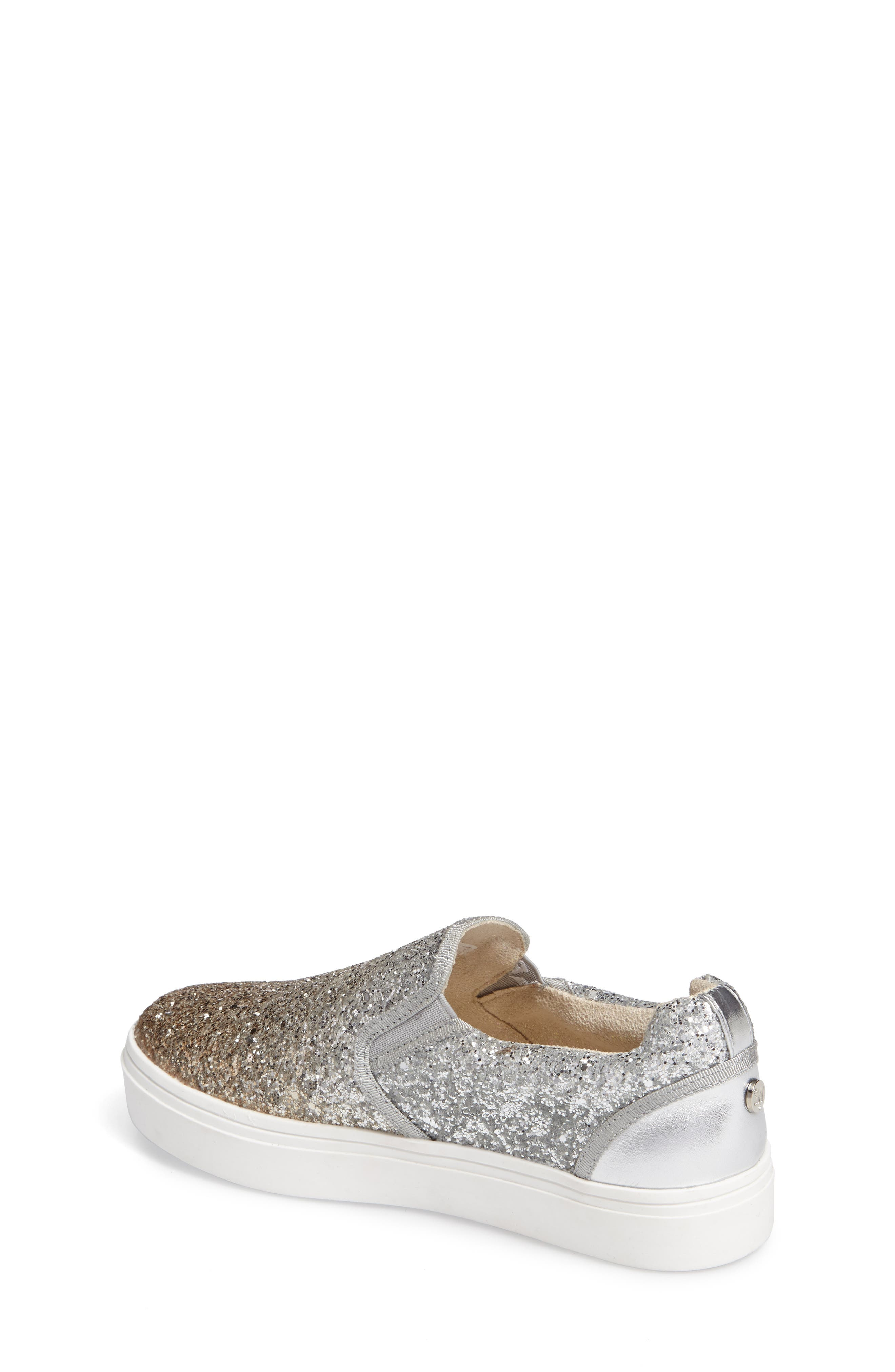 Double Marcia Glitter Platform Sneaker,                             Alternate thumbnail 2, color,                             Silver/ Gold
